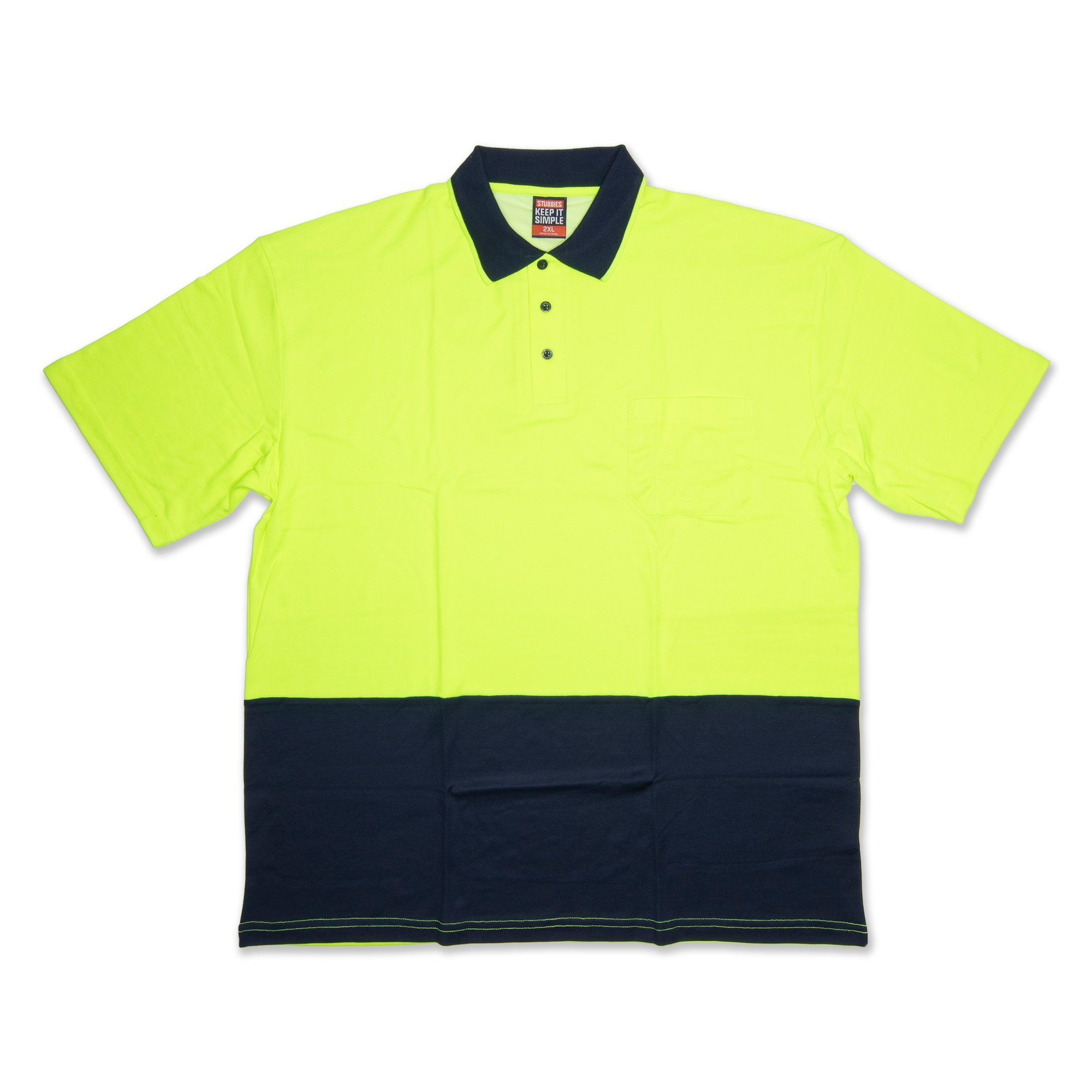 Stubbies Hi Vis Short Sleeve Men's Polo - Fluro Yellow Workwear Stubbies