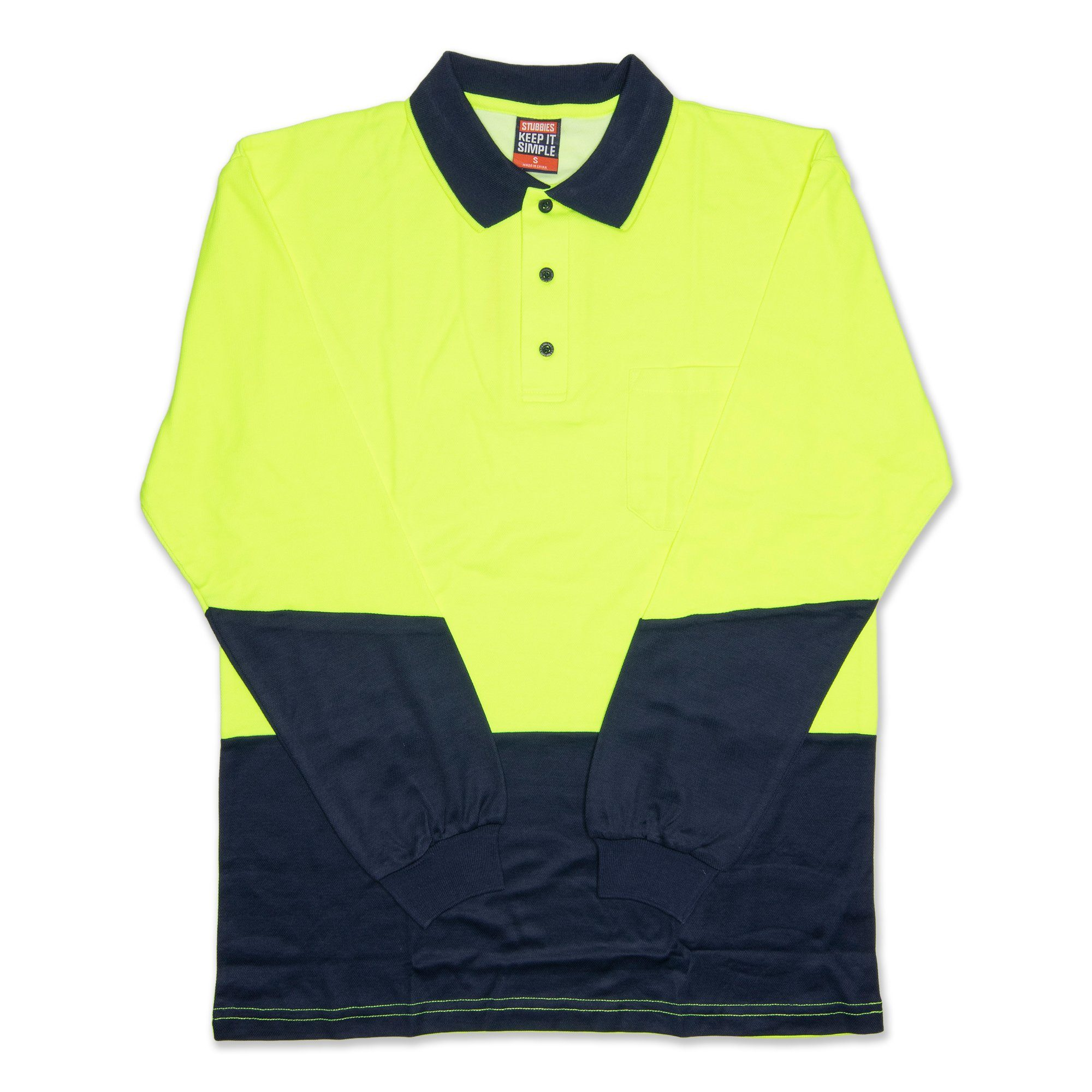 Stubbies Hi Vis Long Sleeve Men's Polo - Fluro Yellow Workwear Stubbies