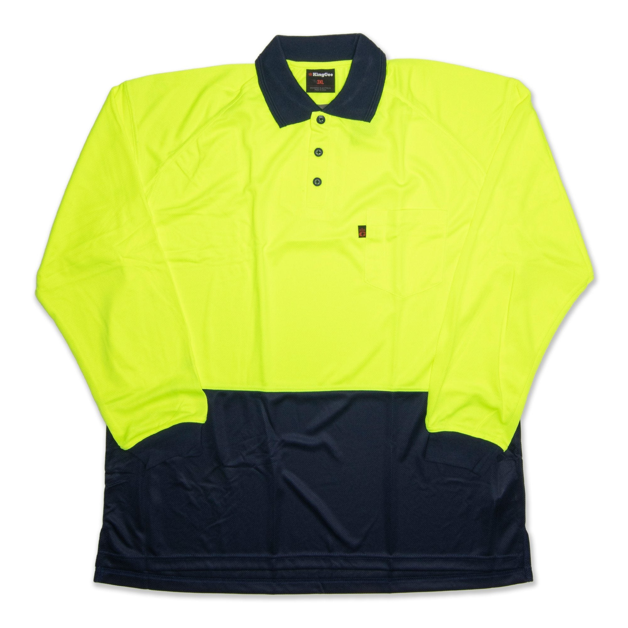 King Gee Work Cool Long Sleeve Men's Polo - Fluro Yellow Workwear King Gee