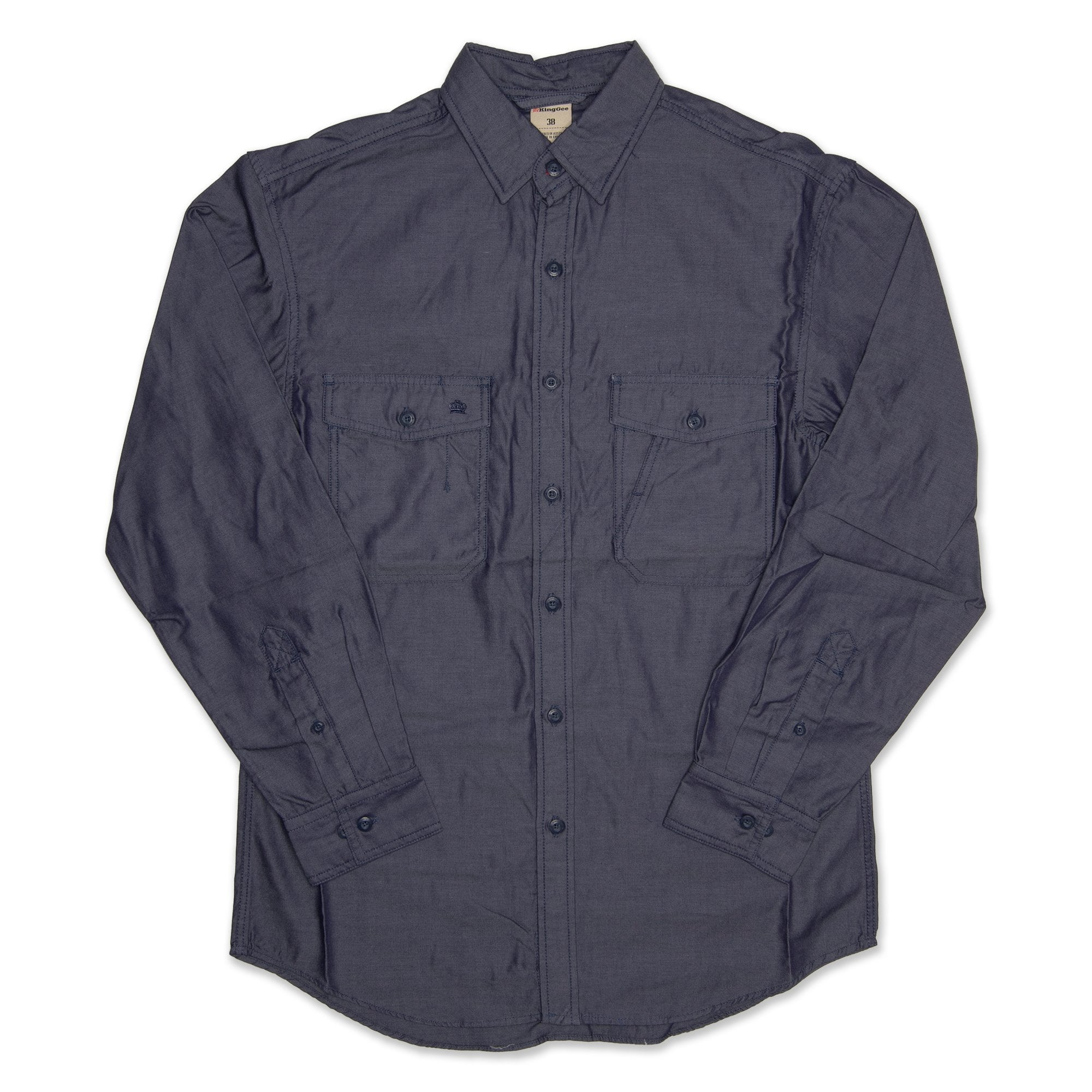King Gee Smart Casuals Long Sleeve Men's Chambray Shirt - Navy Workwear King Gee