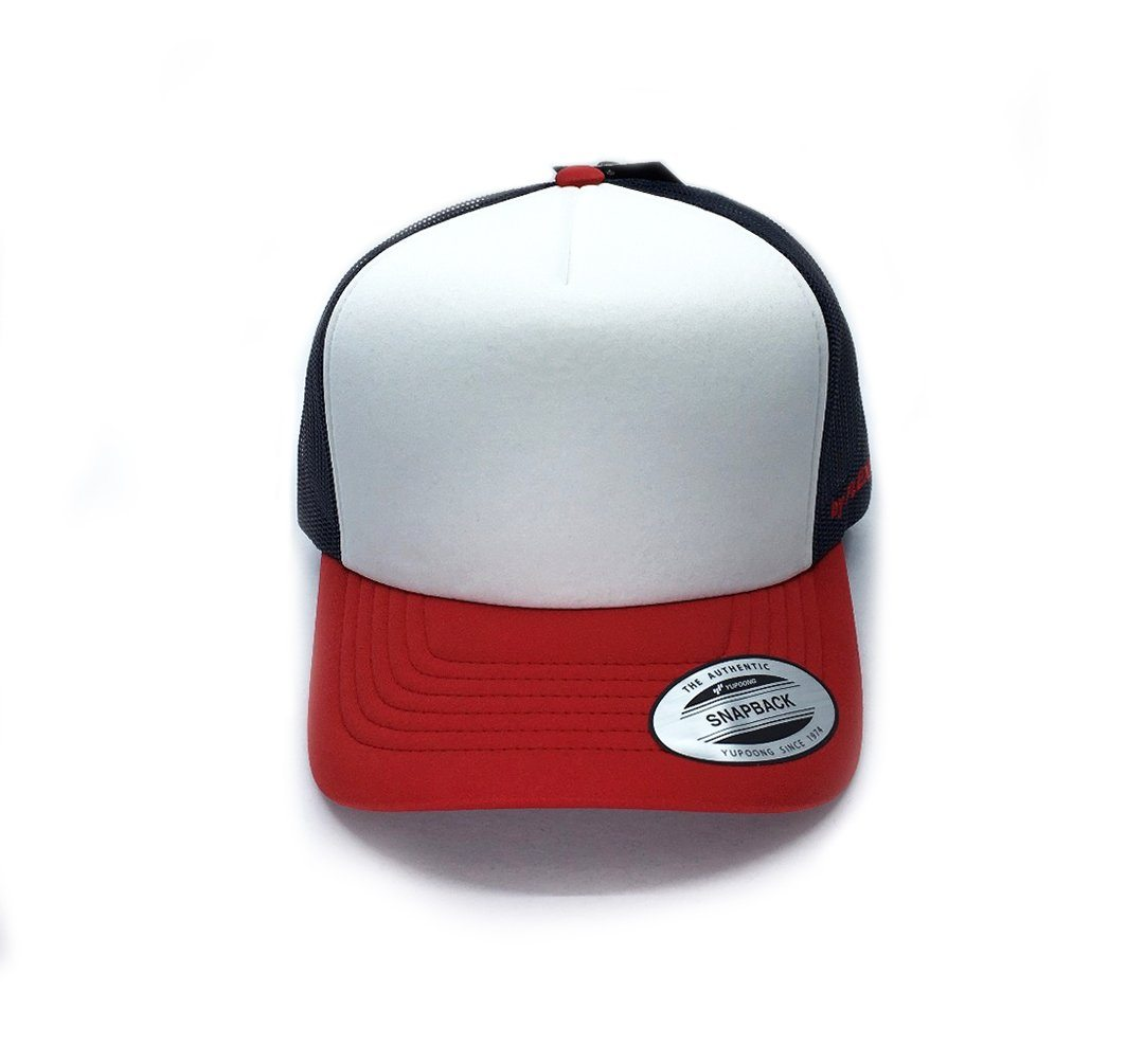 Flexfit Hi Crown Trucker - Red/Navy SP-Headwear-Caps Flexfit