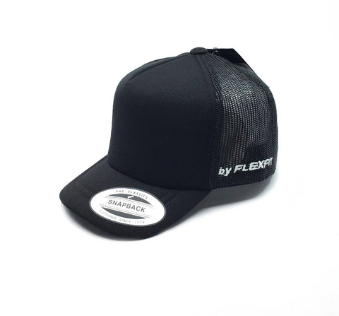 Flextfit Youth Hi Crown Trucker Cap - Black (Toddler) SP-Headwear-Caps Flexfit