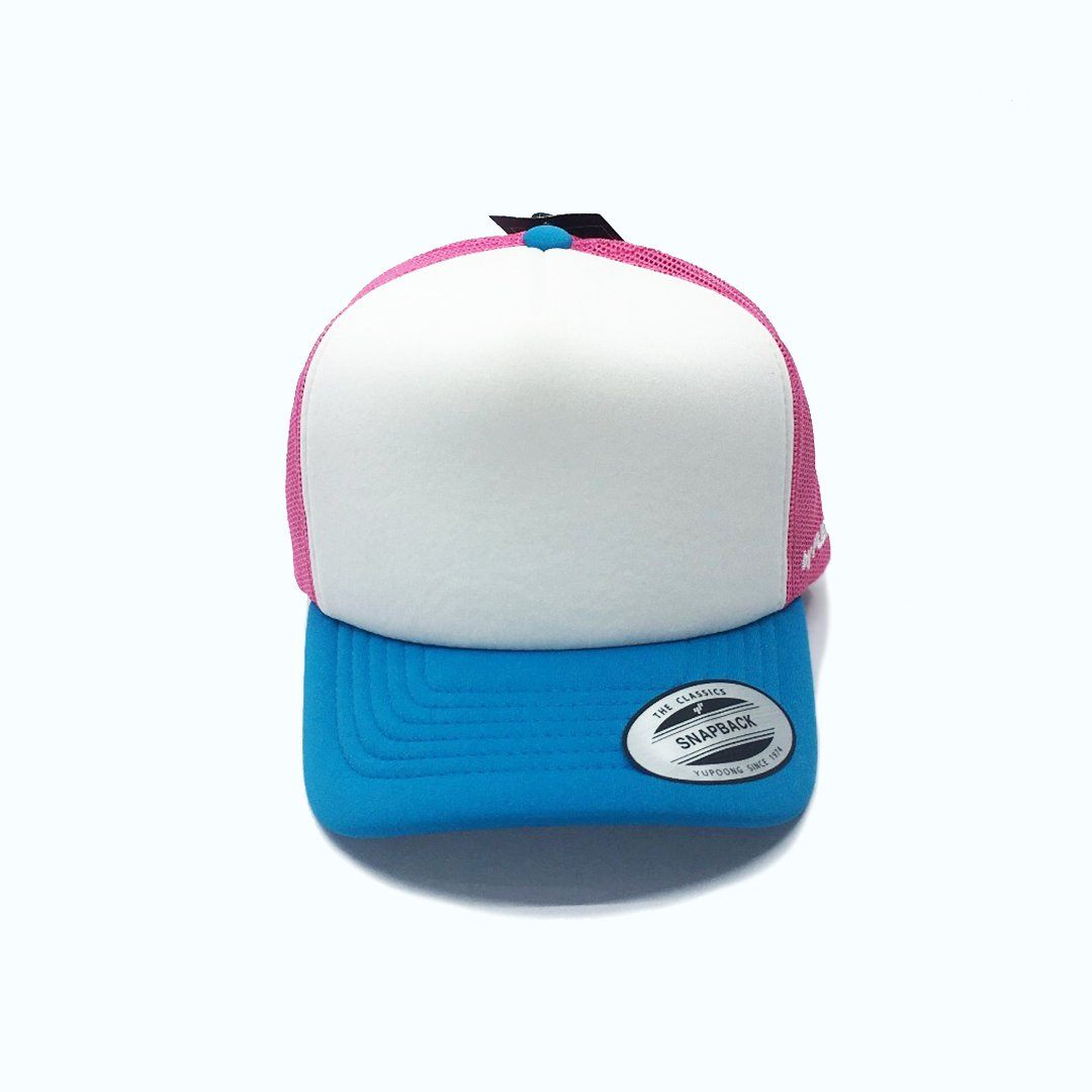 Flexfit Hi Crown Trucker Youth - Pink/Turquoise SP-Headwear-Caps Flexfit