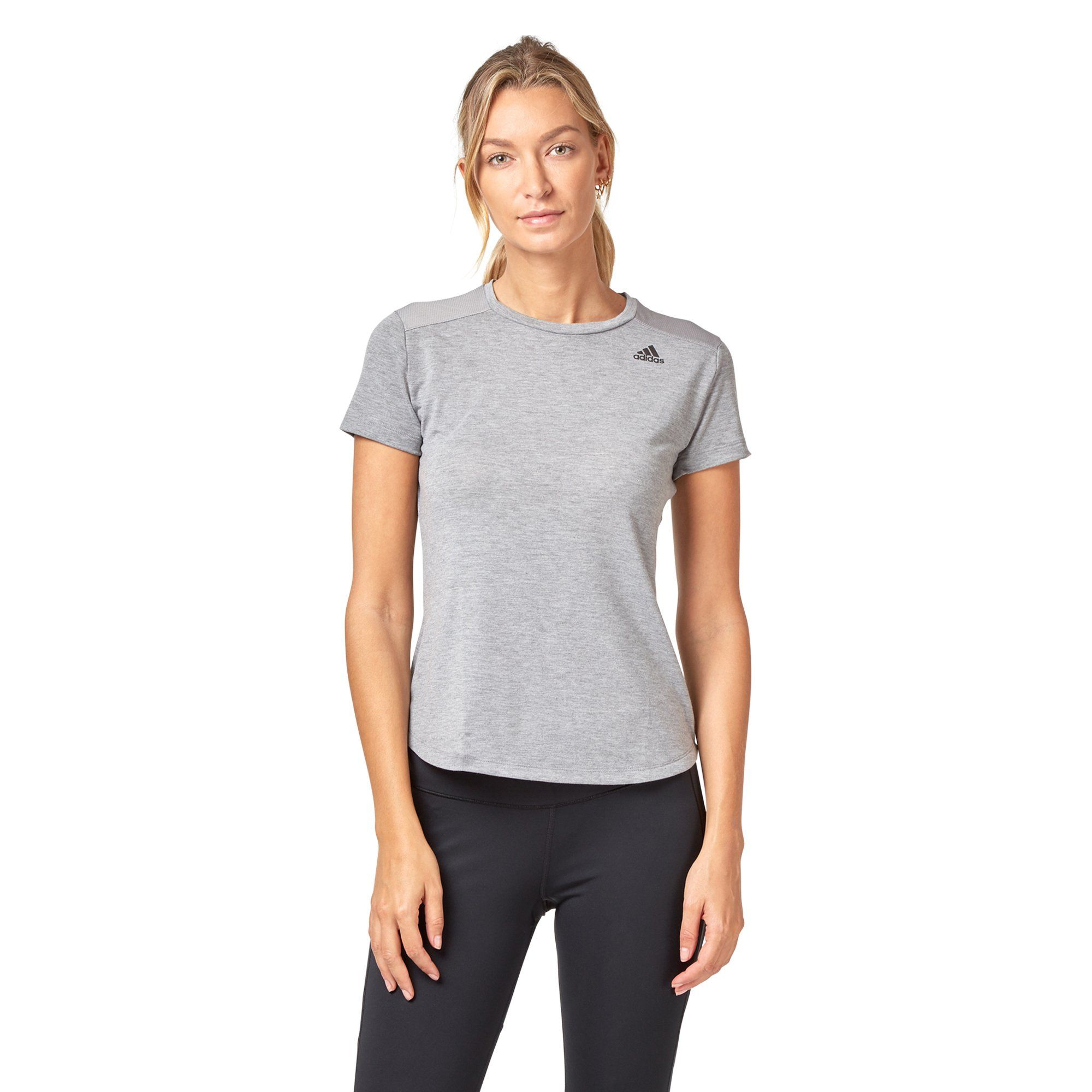 Adidas Women's Prime Mix Tee - Chalk solid grey SportsPower Geelong