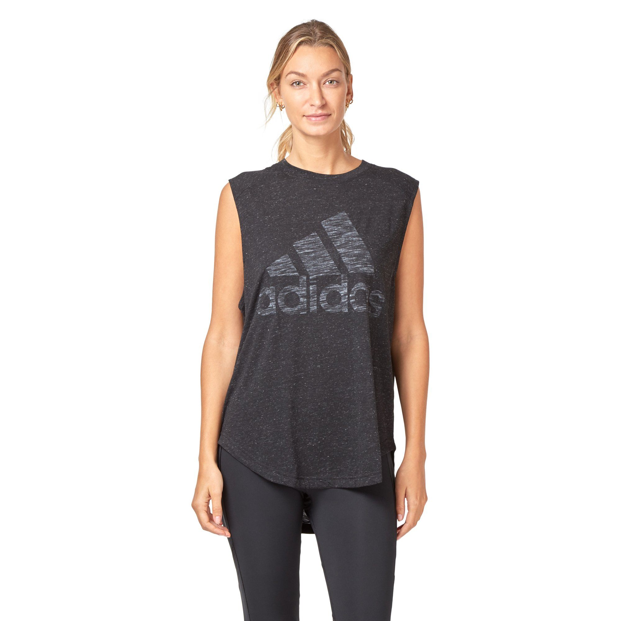 Adidas Women's ID Winners Muscle Tee - Black SportsPower Geelong  (2012420505659)