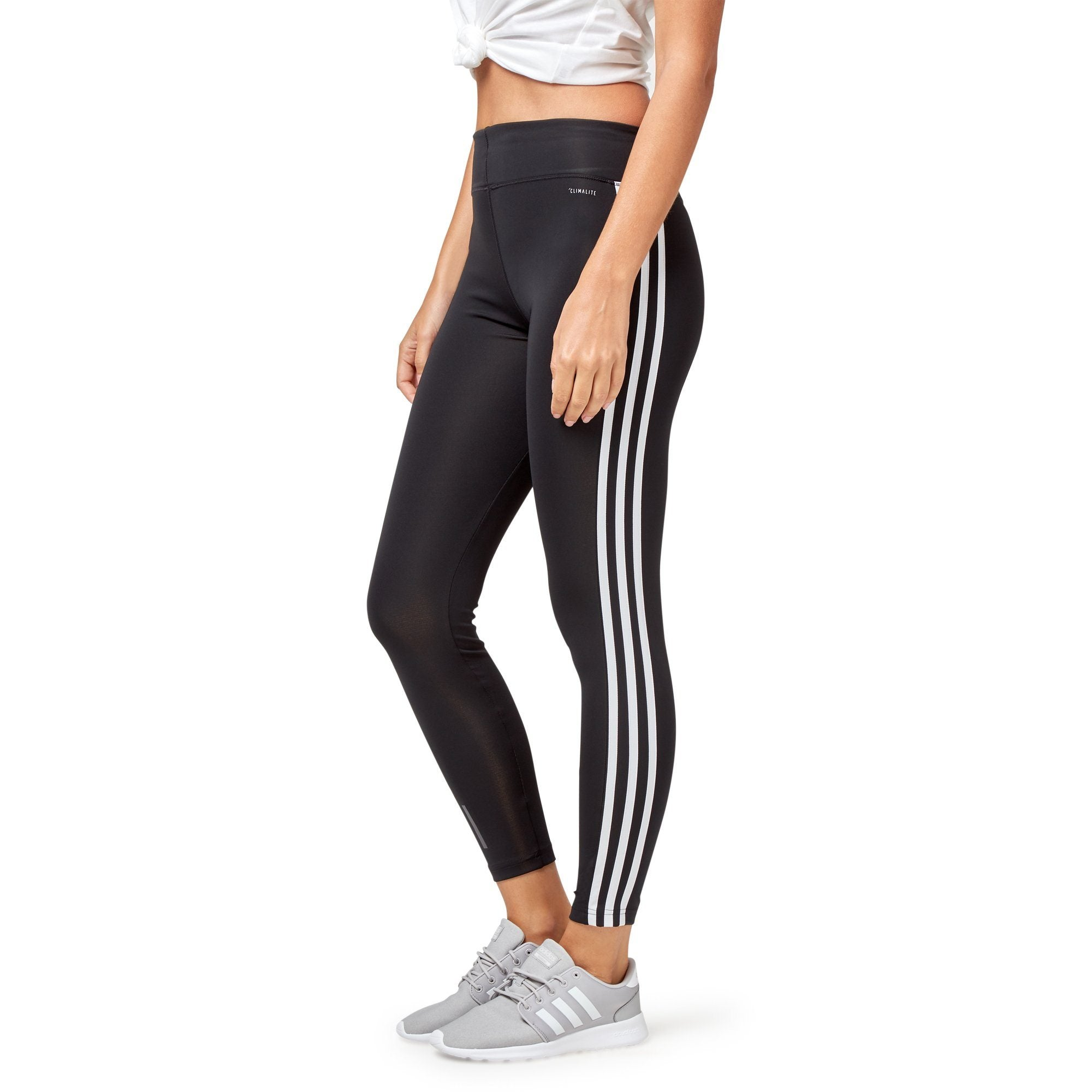 Adidas Women's Designed-2-Move 3-Stripe Long Tights - Black/White Apparel Adidas