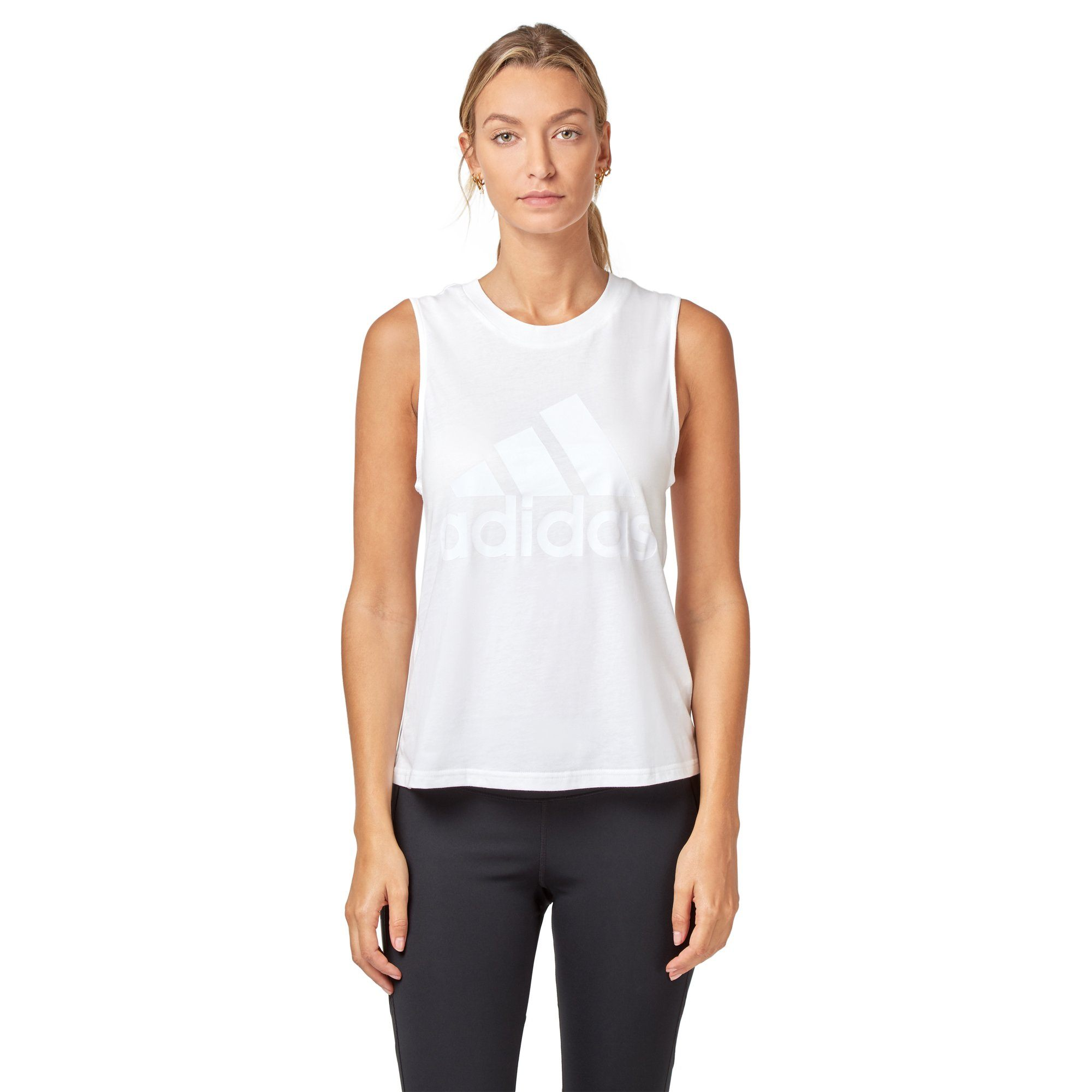 Adidas Women's Essential Solid Tank - White/White Apparel Adidas  (2012420603963)