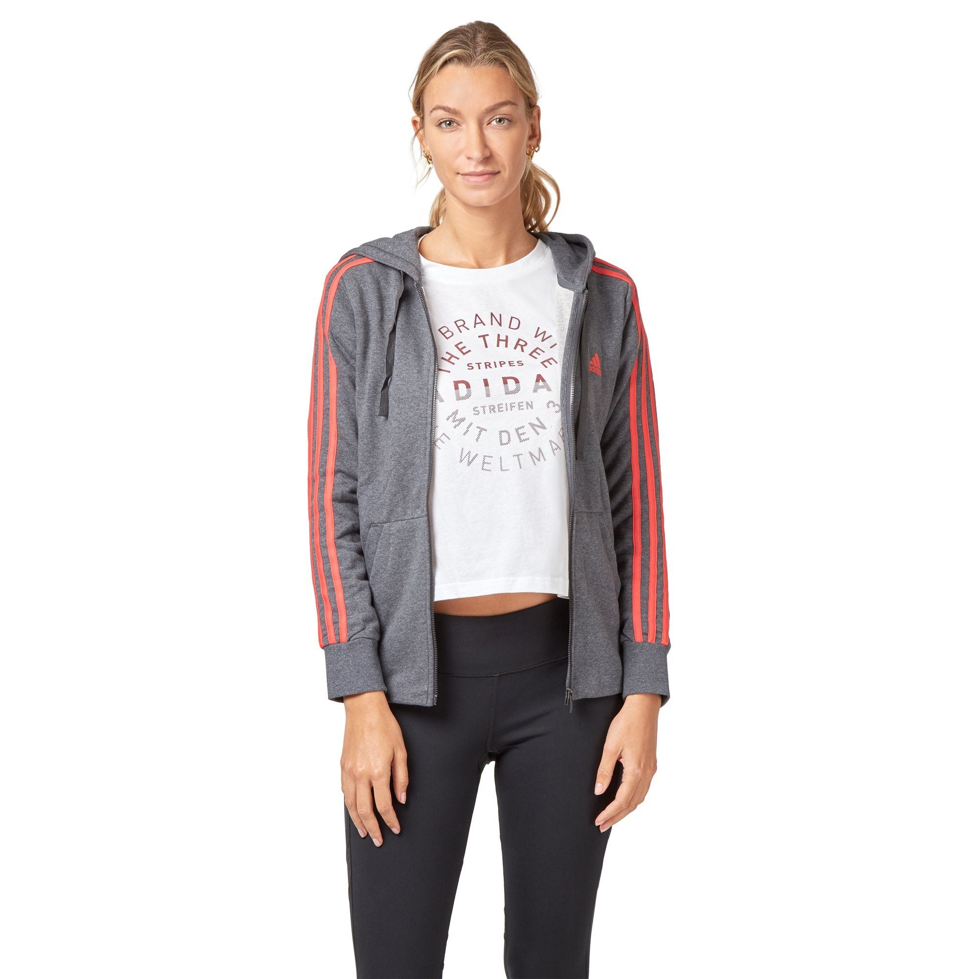 Adidas Women's Essentials 3 Stripes Hoodie - Dark Grey Heather/Real Coral Apparel Adidas