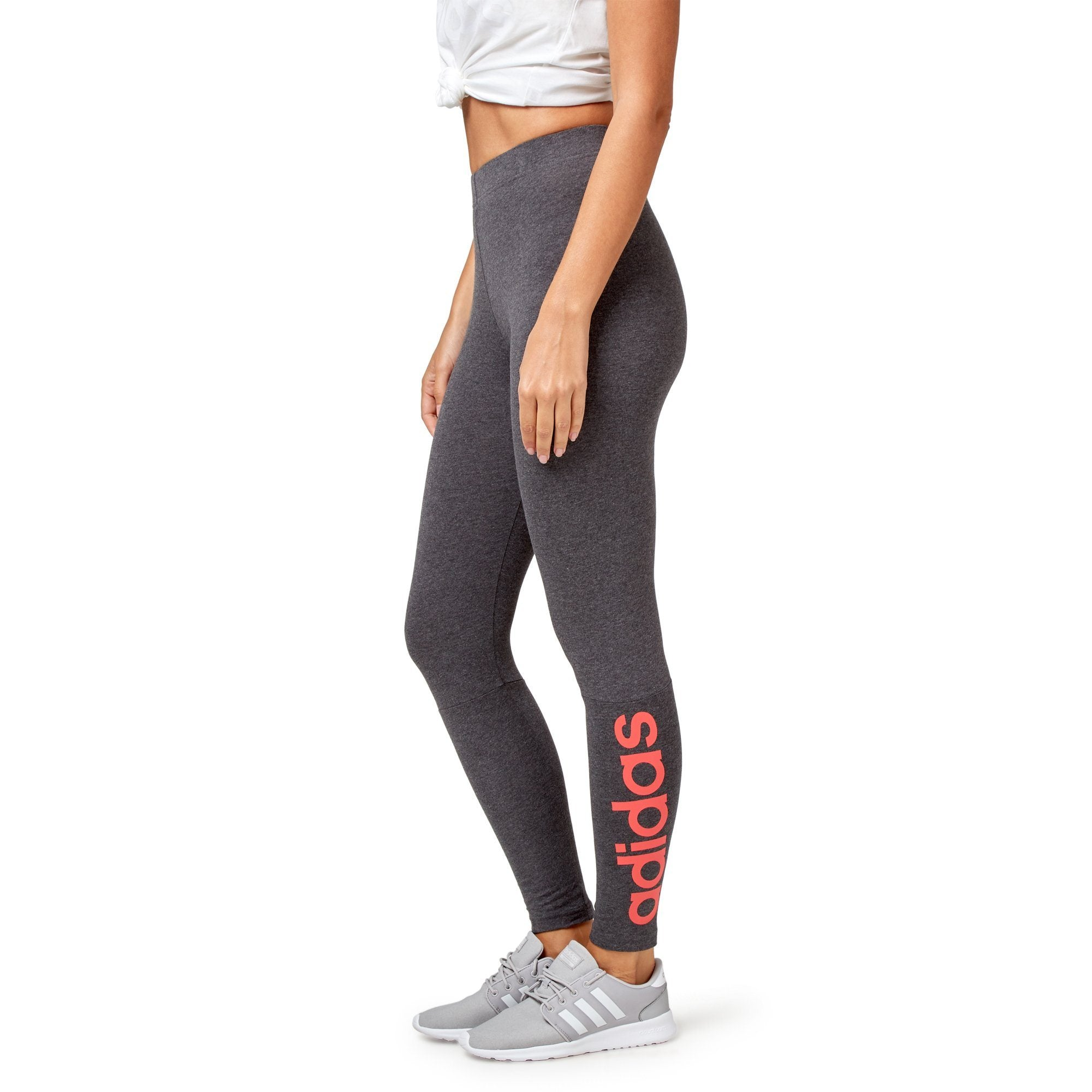 Adidas Women's Essential Linear Tight with Logo - Dark Grey Heather/Real Coral Apparel Adidas
