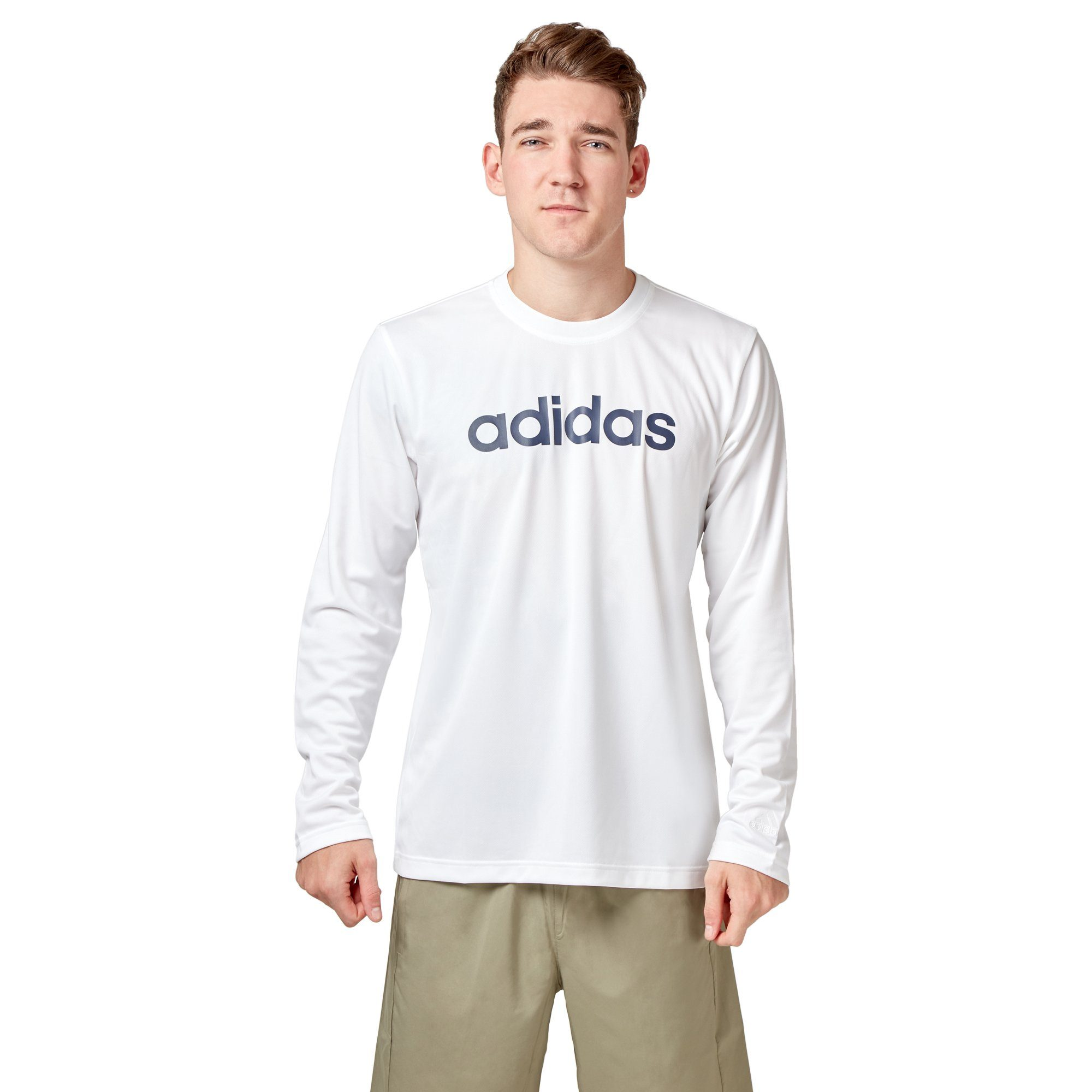 Adidas Men's Logo Long Sleeve Tee - White SportsPower Geelong  (2012420079675)