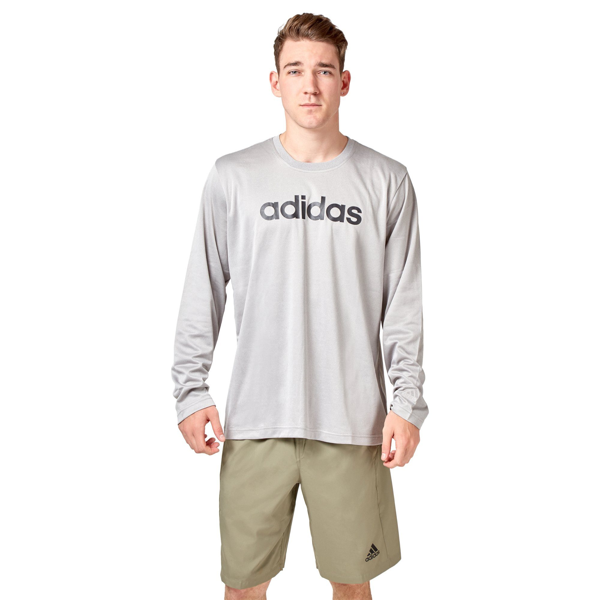 Adidas Men's Logo Long Sleeve Tee - Mid grey heather SportsPower Geelong