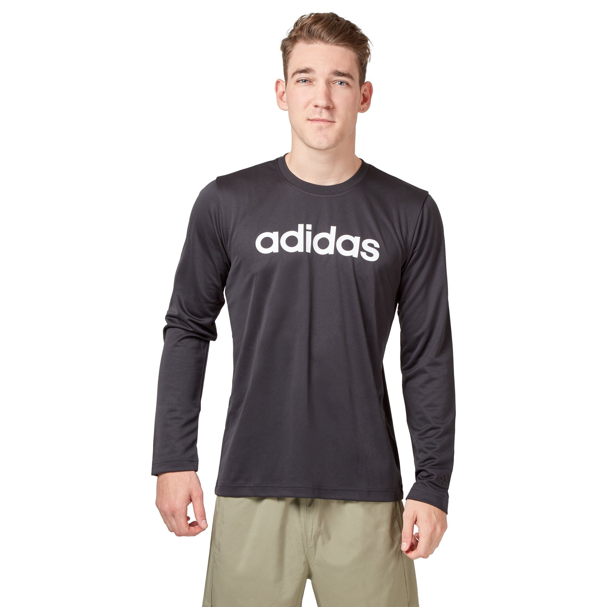 Adidas Men's Logo Long Sleeve Tee - Black SportsPower Geelong  (2012420145211)