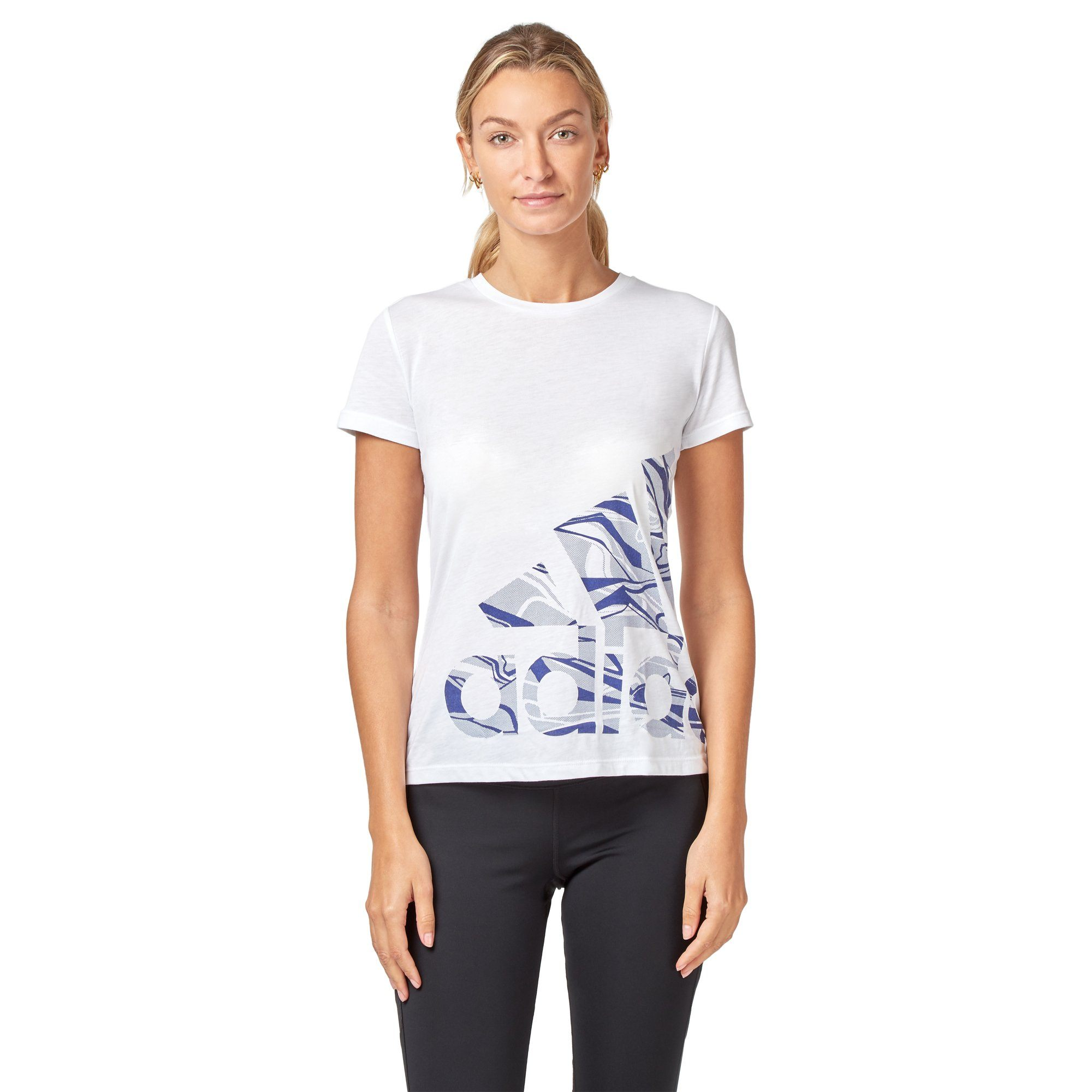 Adidas Women's Logo Tee - White SportsPower Geelong  (2012421029947)