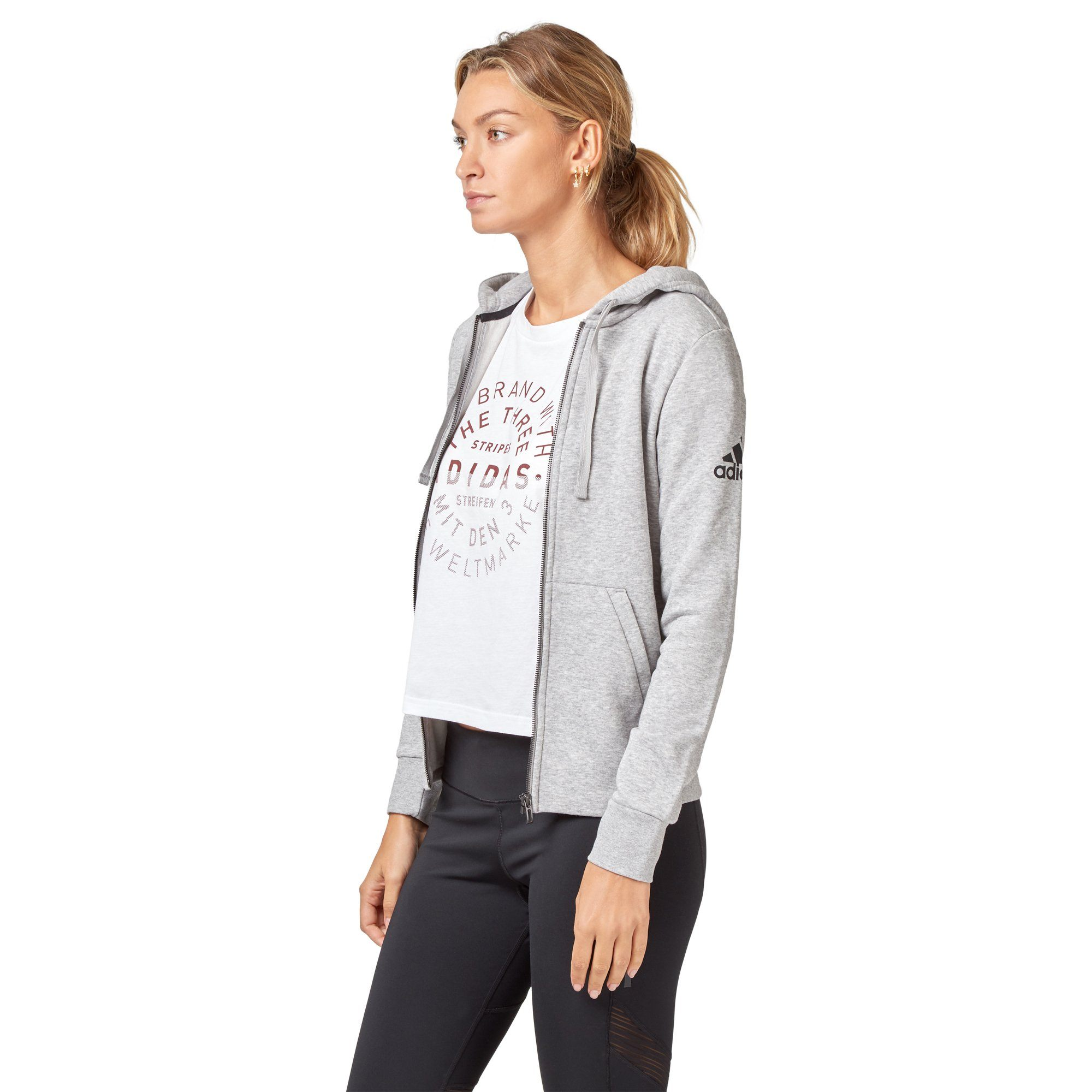 Adidas Women's Essentials Solid Hoodie - Mid grey heather SportsPower Geelong  (2012421488699)
