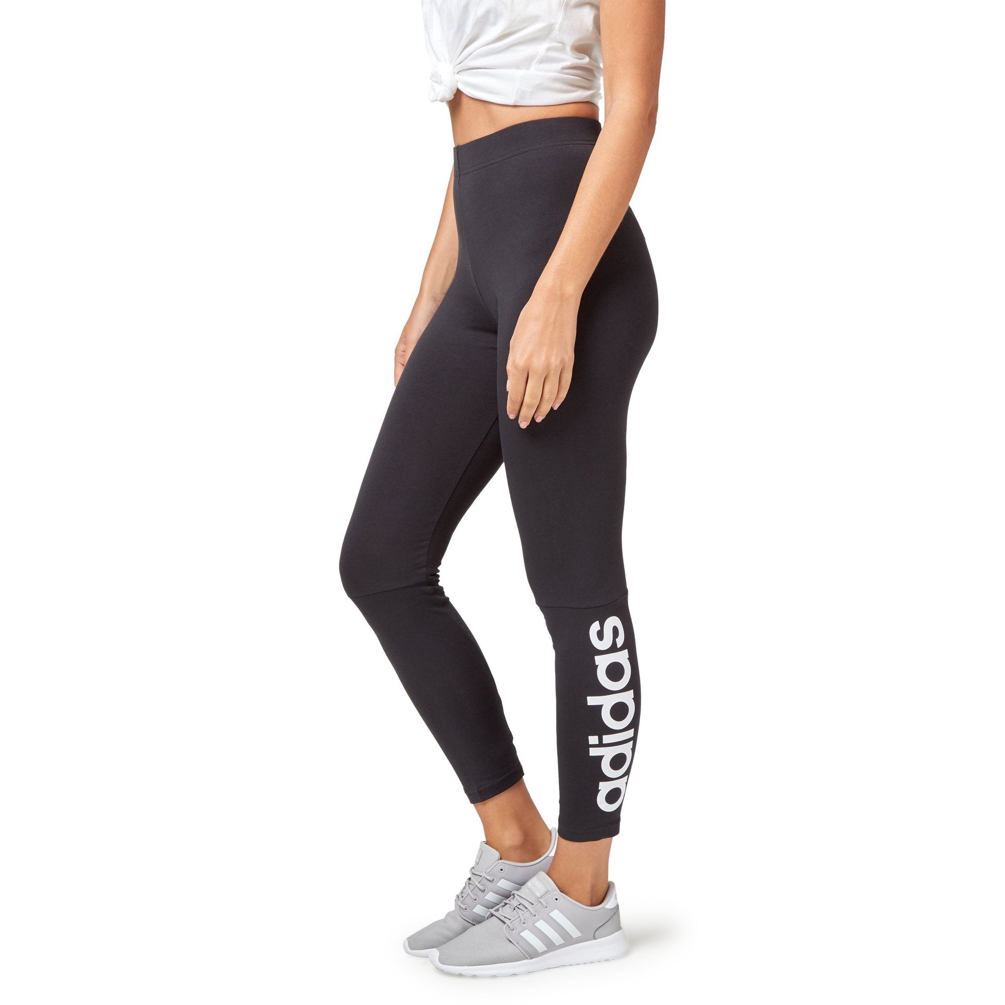 Adidas Women's Essentials Linear Tights - Black/White Apparel Adidas