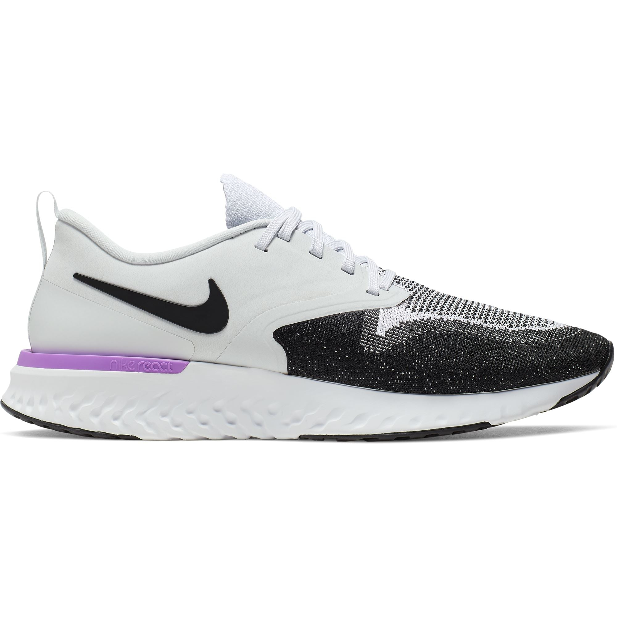 Nike Mens Odyssey React Flyknit 2 - Pure Platinum/Black/WhiteHyperViolet SP-Footwear-Mens Nike
