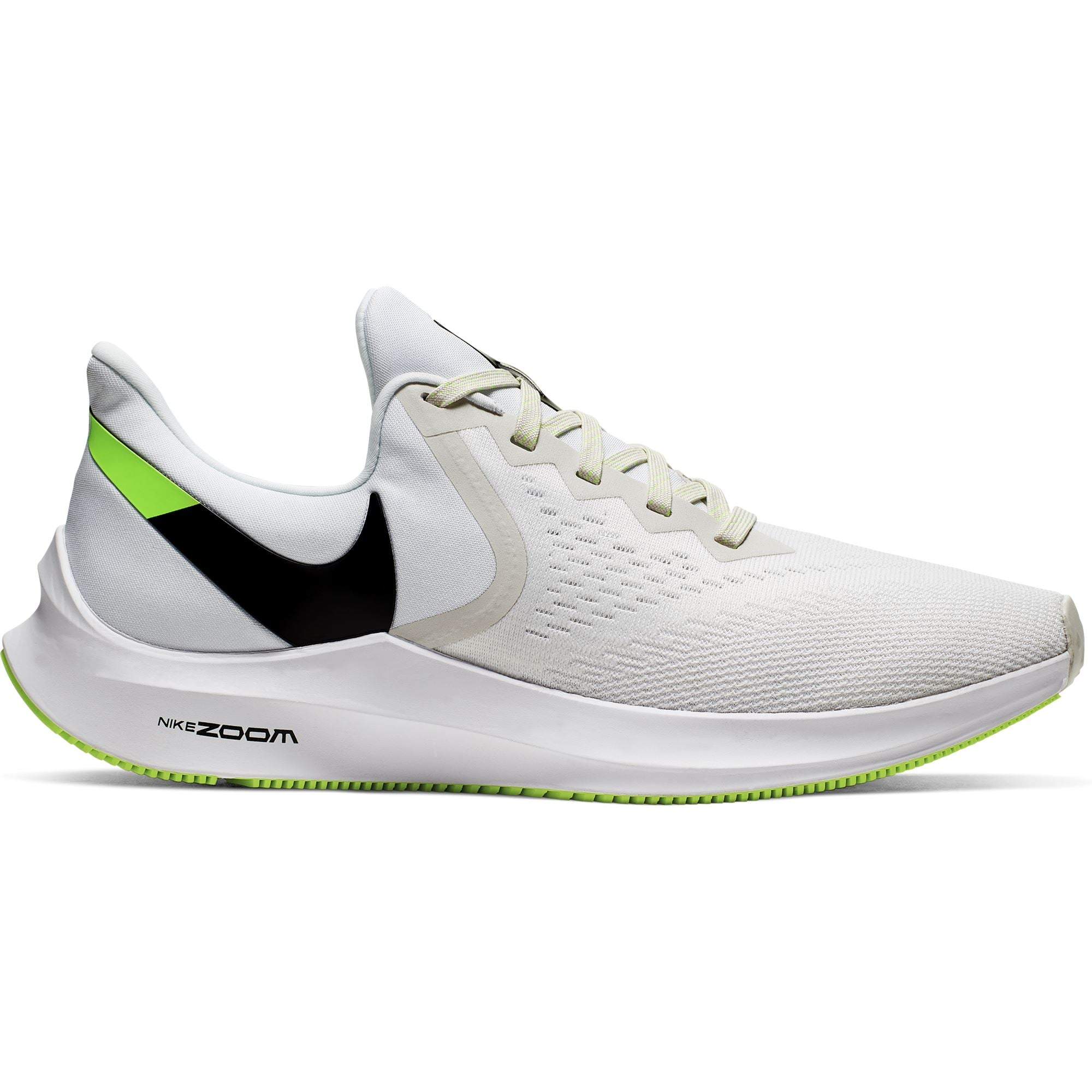 Nike Mens Air Zoom Winflo 6 - Platinum Tint/Black-White-Electric Green SP-Footwear-Mens Nike