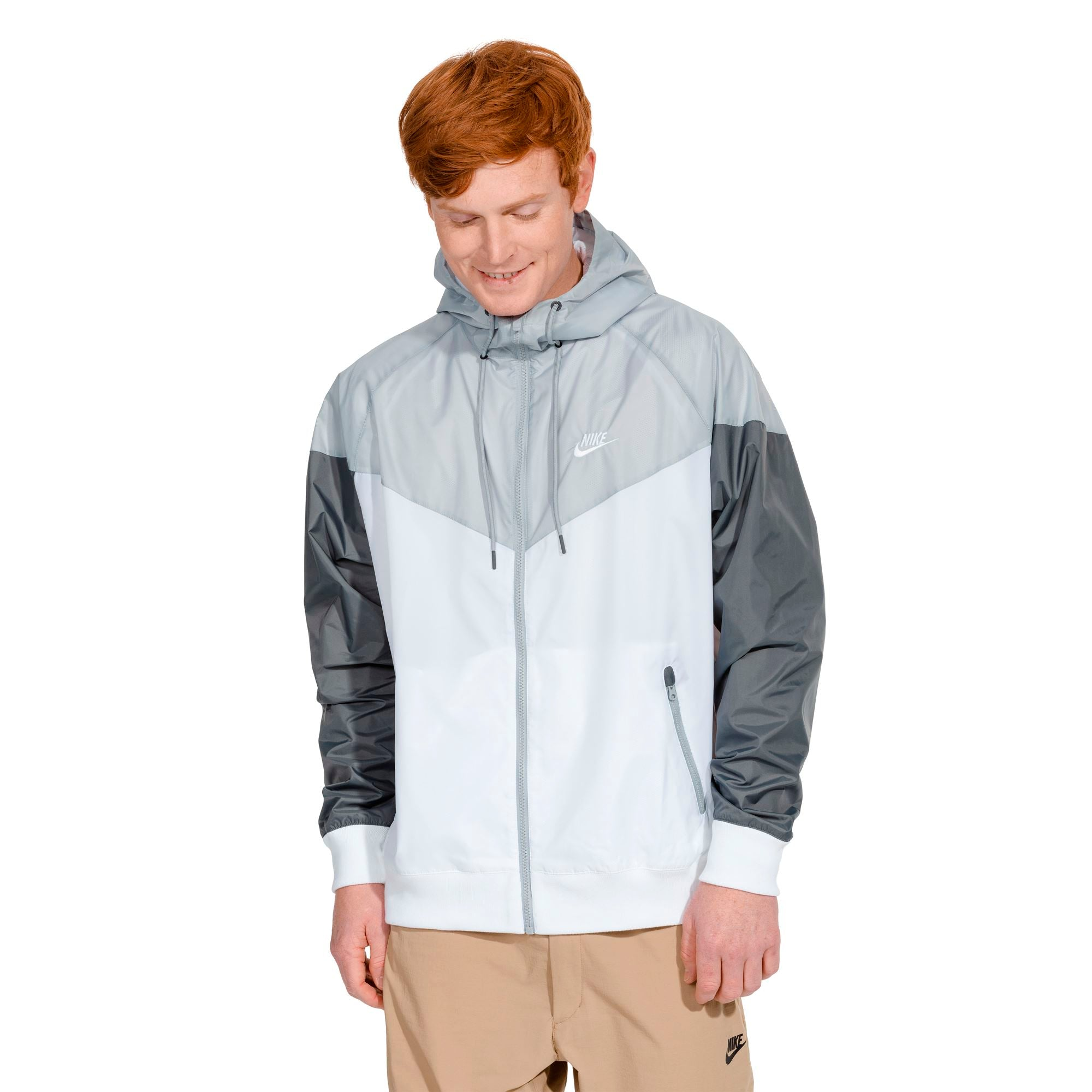 Nike Mens Hooded Windbreaker - White/Wolf Grey/Dark Grey SP-ApparelJackets-Mens Nike