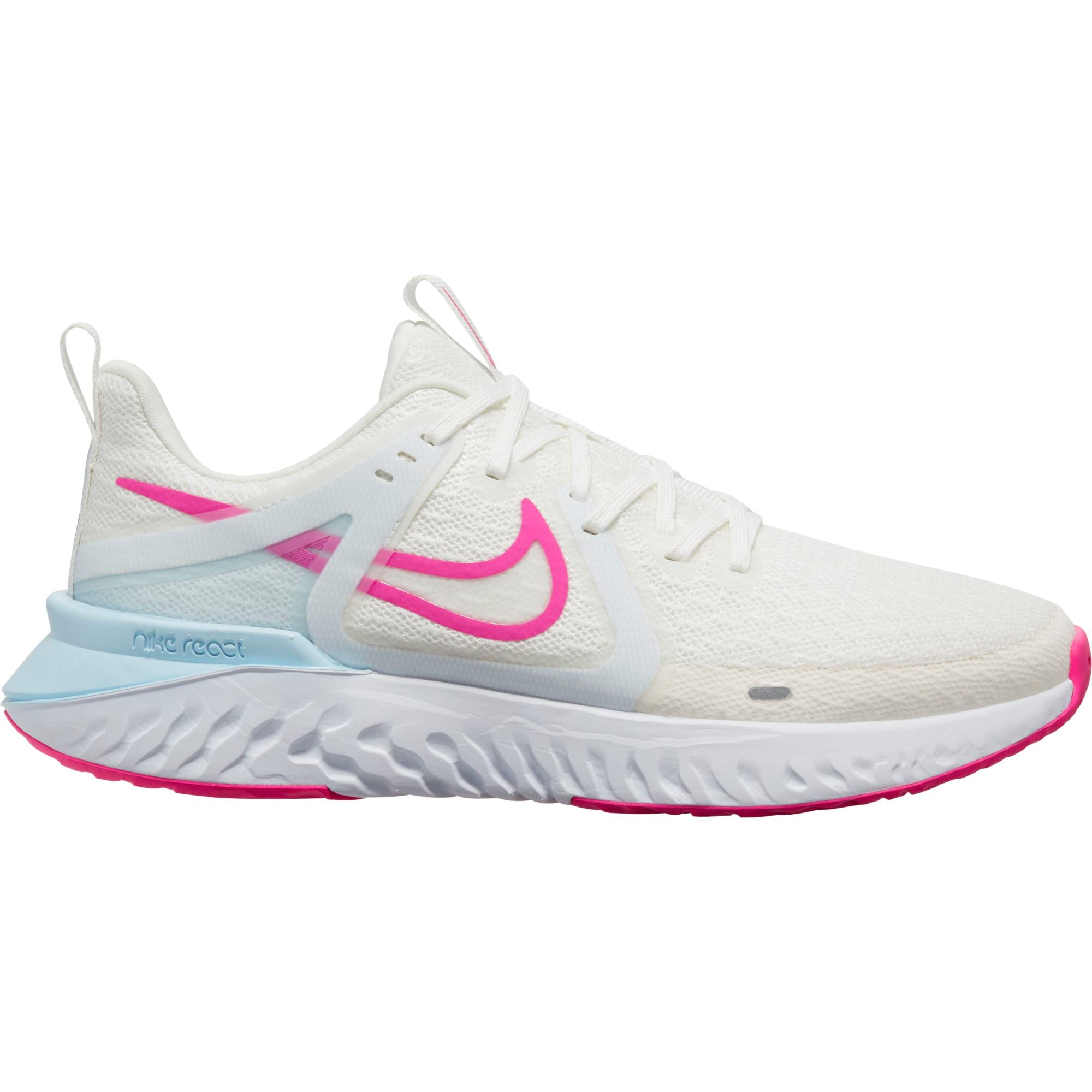 Nike Womens Legend React 2 - Summit White/Fire Pink-Hydrogen Blue SP-Footwear-Womens Nike