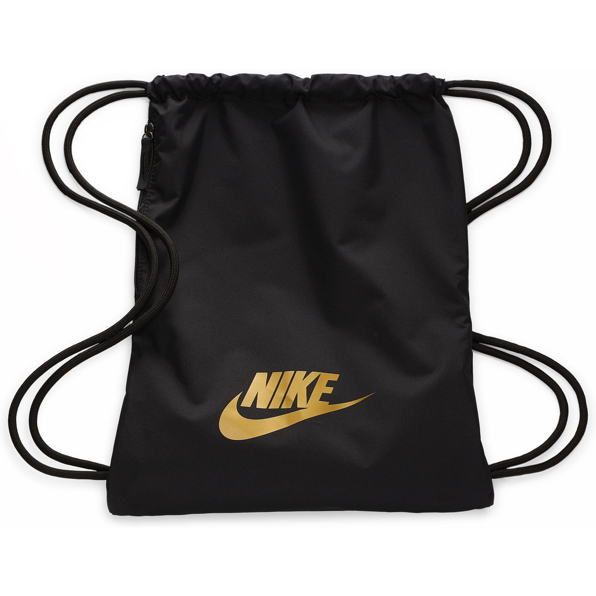 Nike Heritage 2.0 Gym Sack - Black/Black/Metallic Gold SP-Accessories-Bags Nike