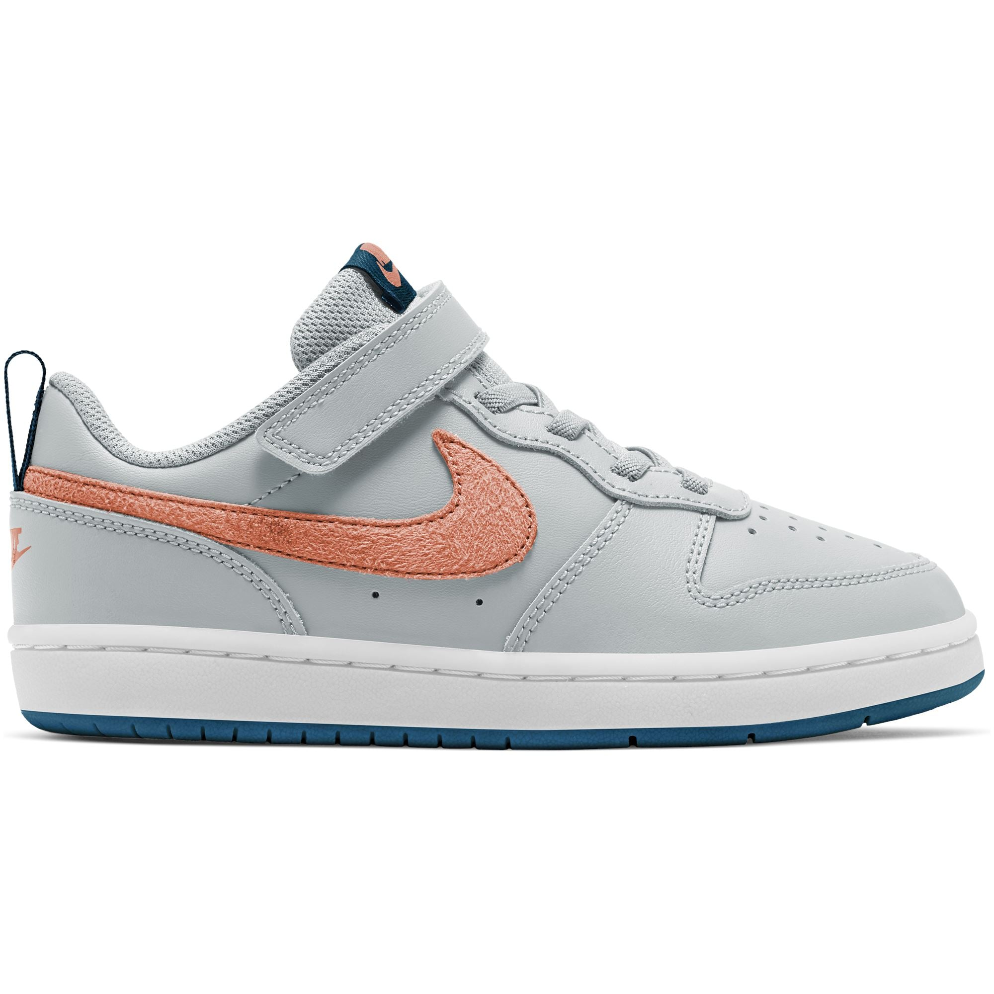 Nike Kids Court Borough Low 2 (Little Kids) - Pure Platinum/Atomic Pink/Valerian Blue SP-Footwear-Kids Nike