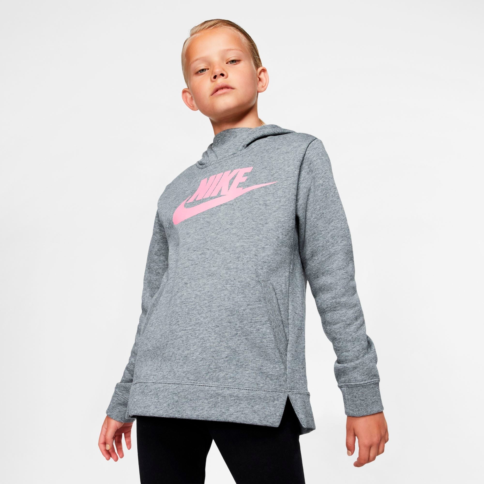 Nike Sportswear Girls' Pullover Hoodie - Carbon Heather/Carbon Heather/Pink SP-ApparelFleece-Kids Nike