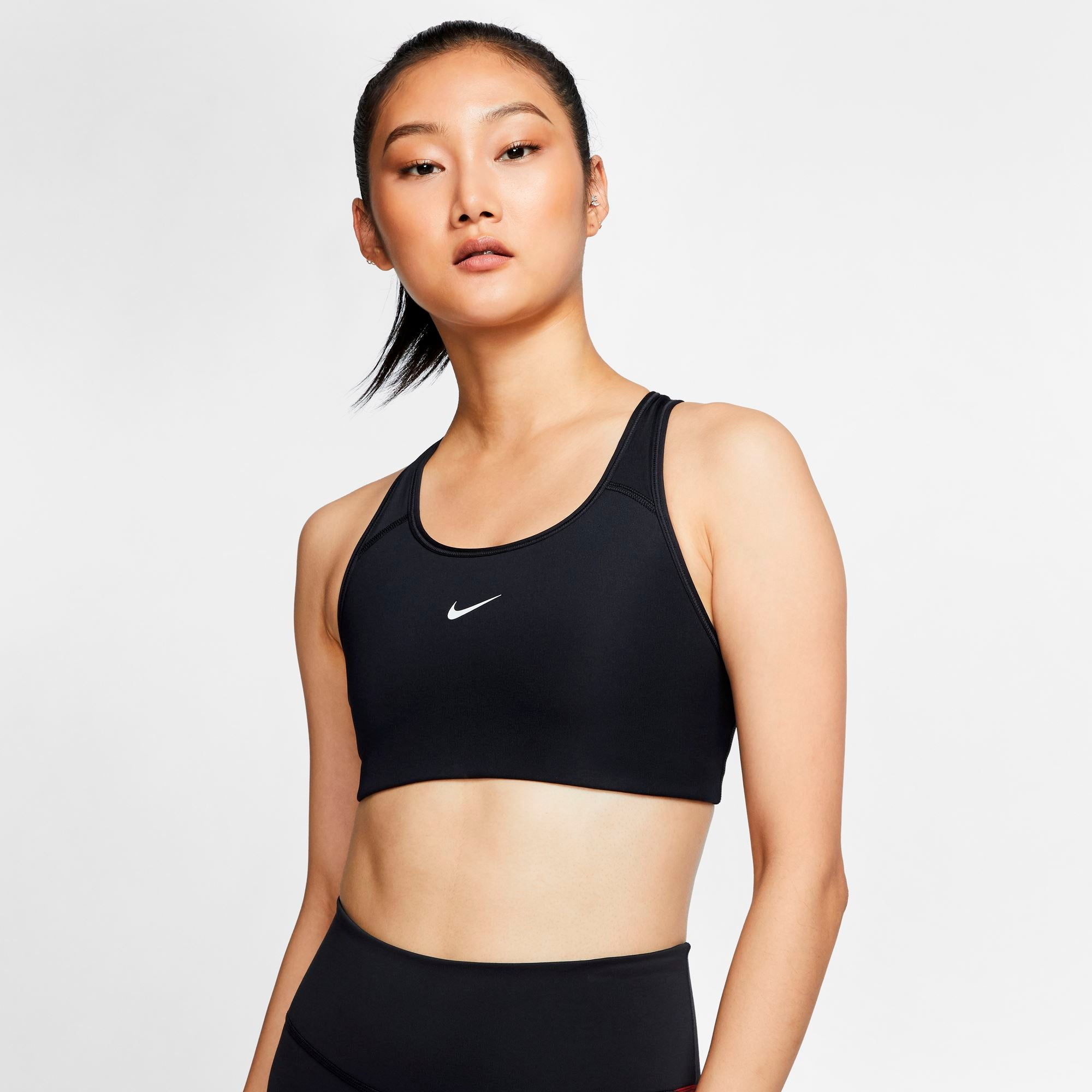 Nike Womens Dri-Fit Swoosh Medium Support Sports Bra - Black/White SP-ApparelBras-Womens Nike