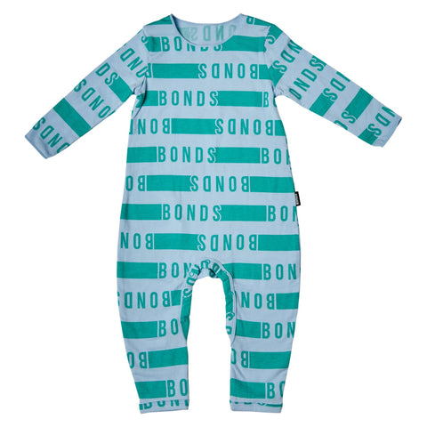 Bonds Baby Wonderbodies Blue/Green Logo Print Baby Isbister & Co Wholesale