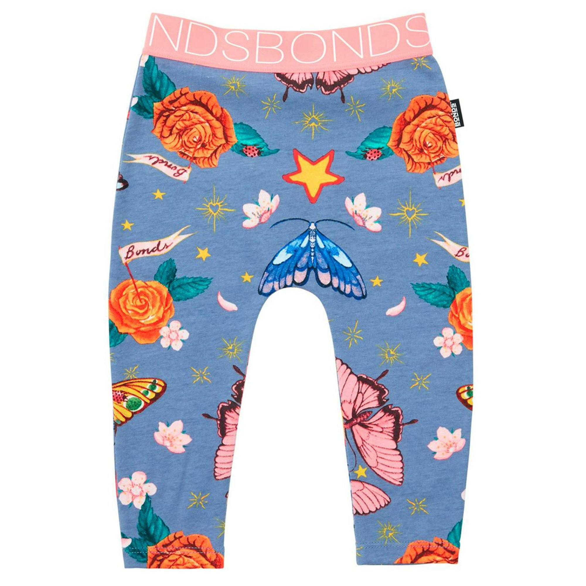 Bonds Baby Stretchies Legging Blue Floral Print Baby Isbister & Co Wholesale