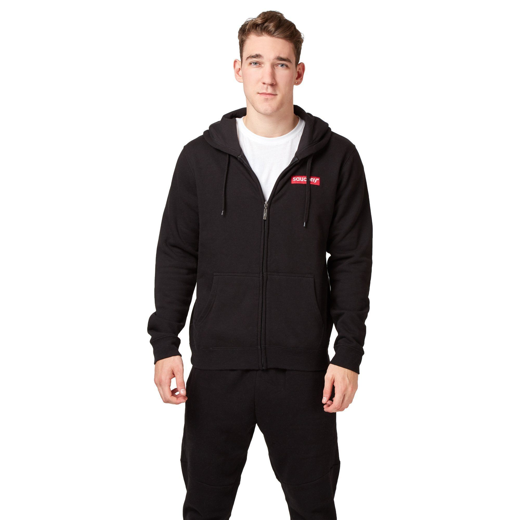 Saucony Badge FZ Hoodie - Black SP-ApparelFleece-Mens Saucony