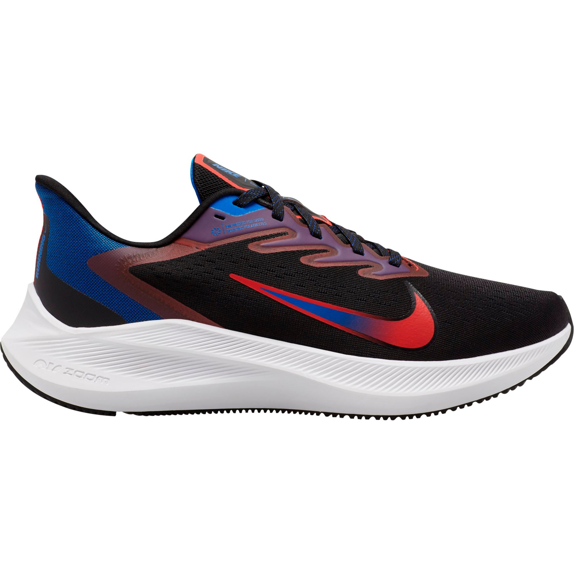 Nike Mens Air Zoom Winflo 7 - Black/Chile Red/Racer Blue SP-Footwear-Mens Nike