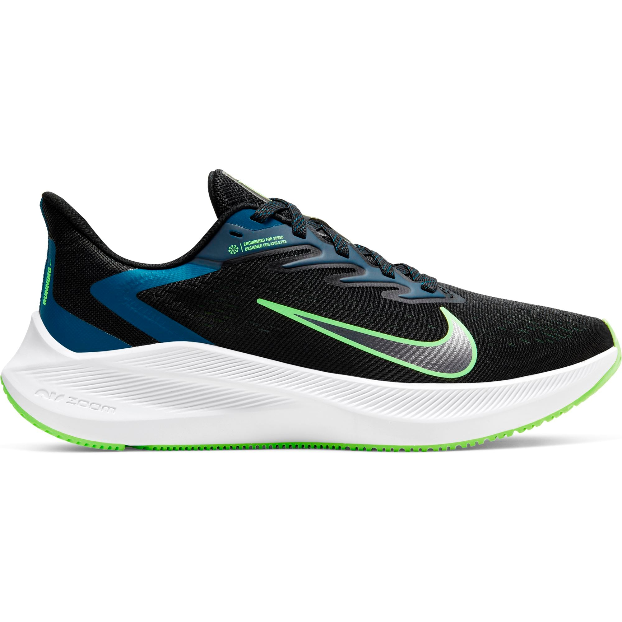 Nike Womens Air Zoom Winflo 7 - Black/Vapor Green-Valerian Blue SP-Footwear-Womens Nike