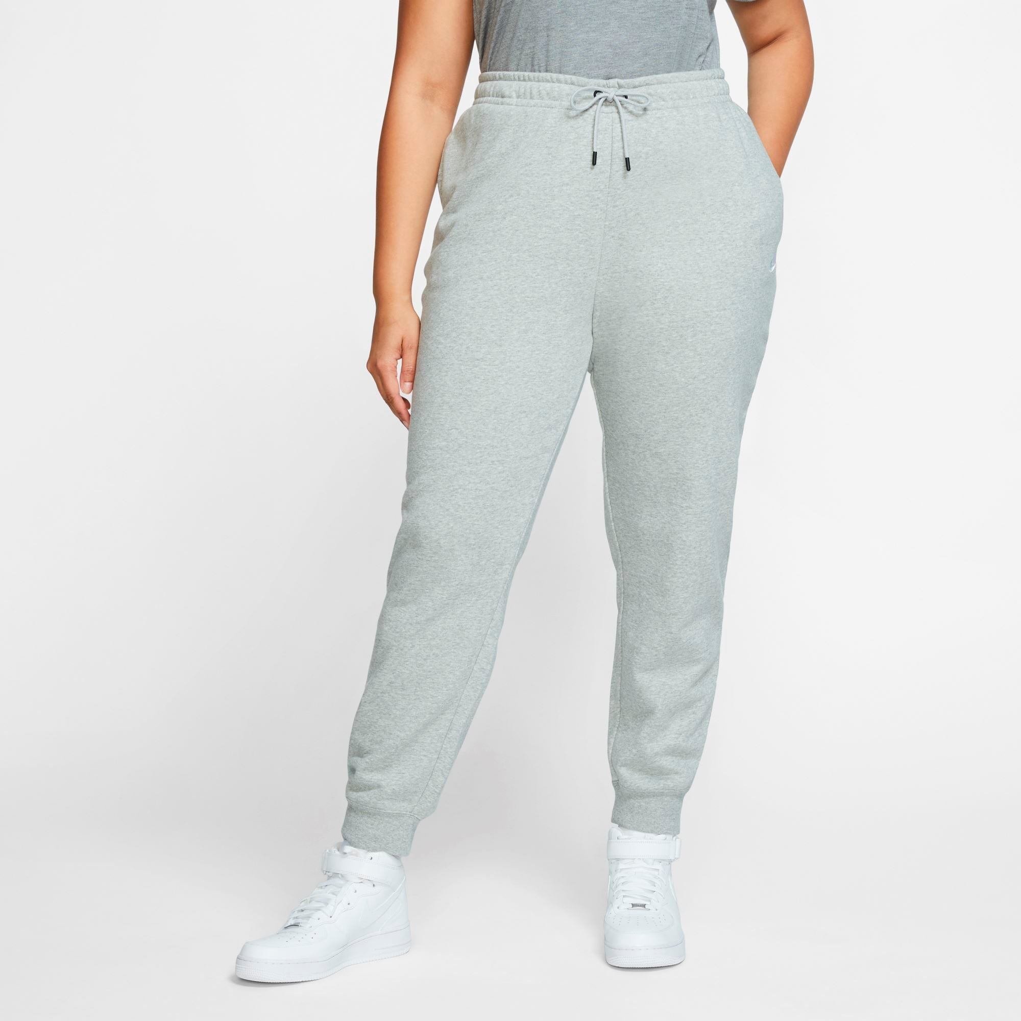 Nike Womens Sportswear Essential Fleece Pants (Plus Size) - Dk Grey Heather/Matte Silver/White SP-ApparelPants-Womens Nike
