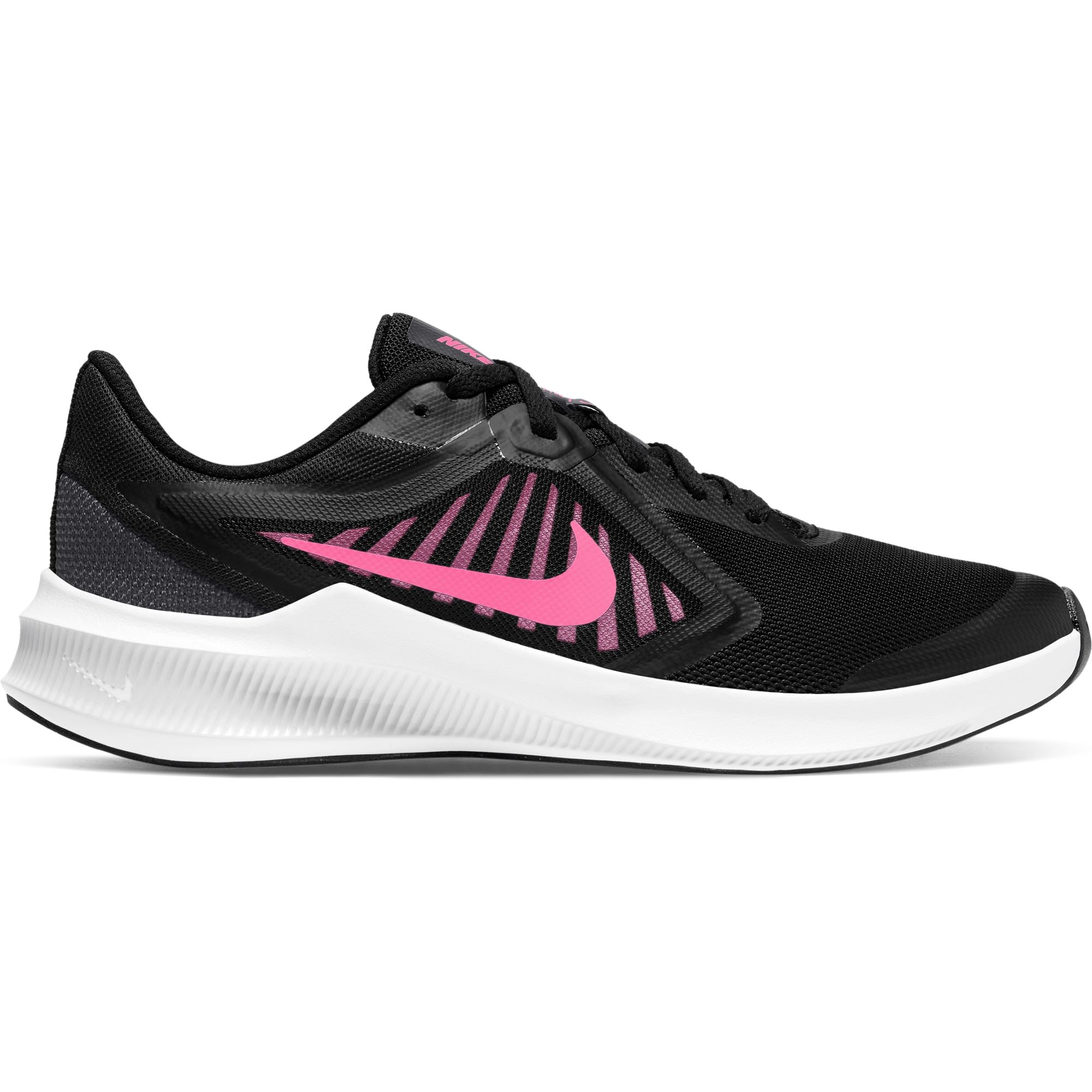 Nike Kids Running Downshifter 10 (Big Kids) - Black/Pink Glow-Anthracite-White Nike