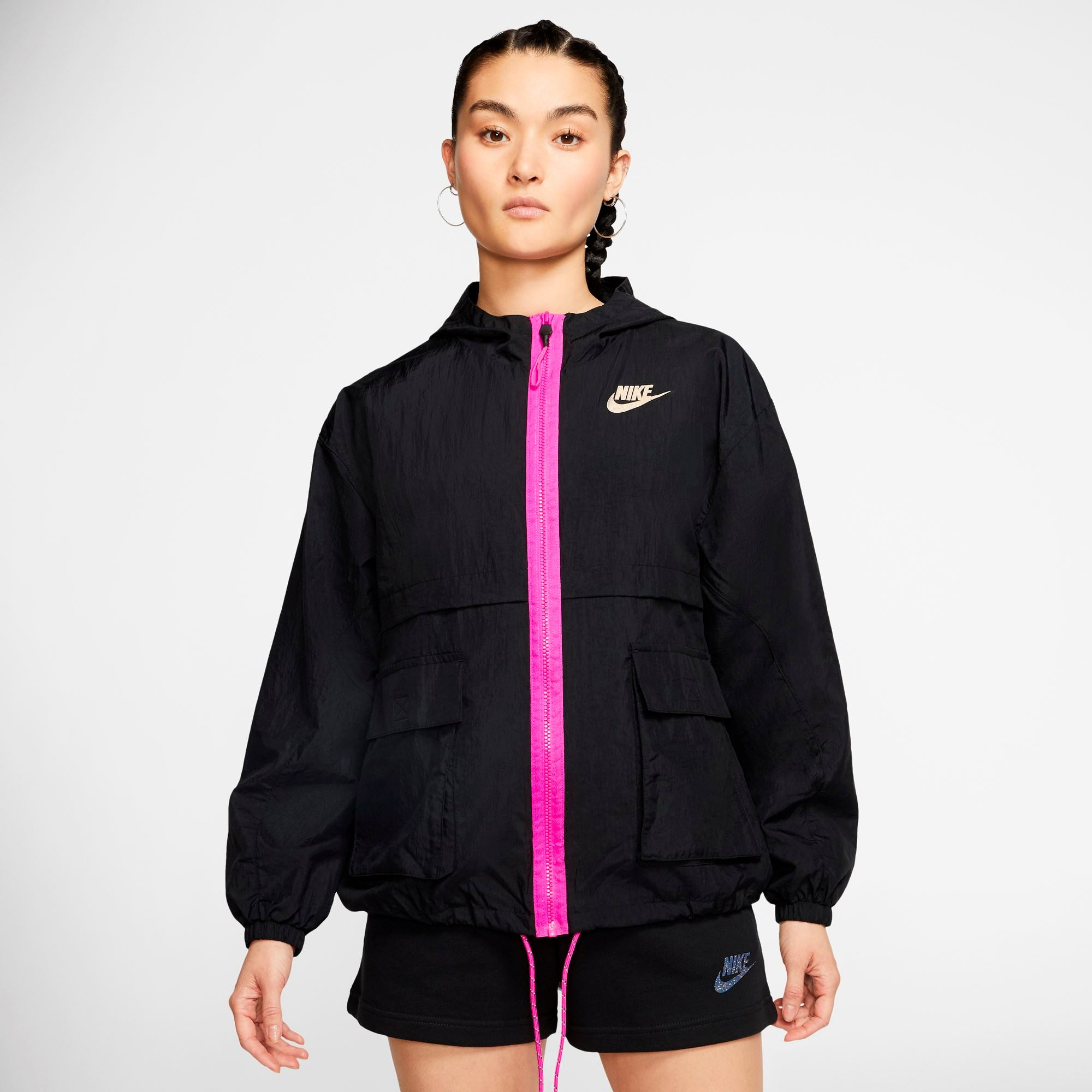 Nike Womens Icon Clash Woven Jacket - Black/Black/Fire Pink SP-ApparelJacket-Womens Nike