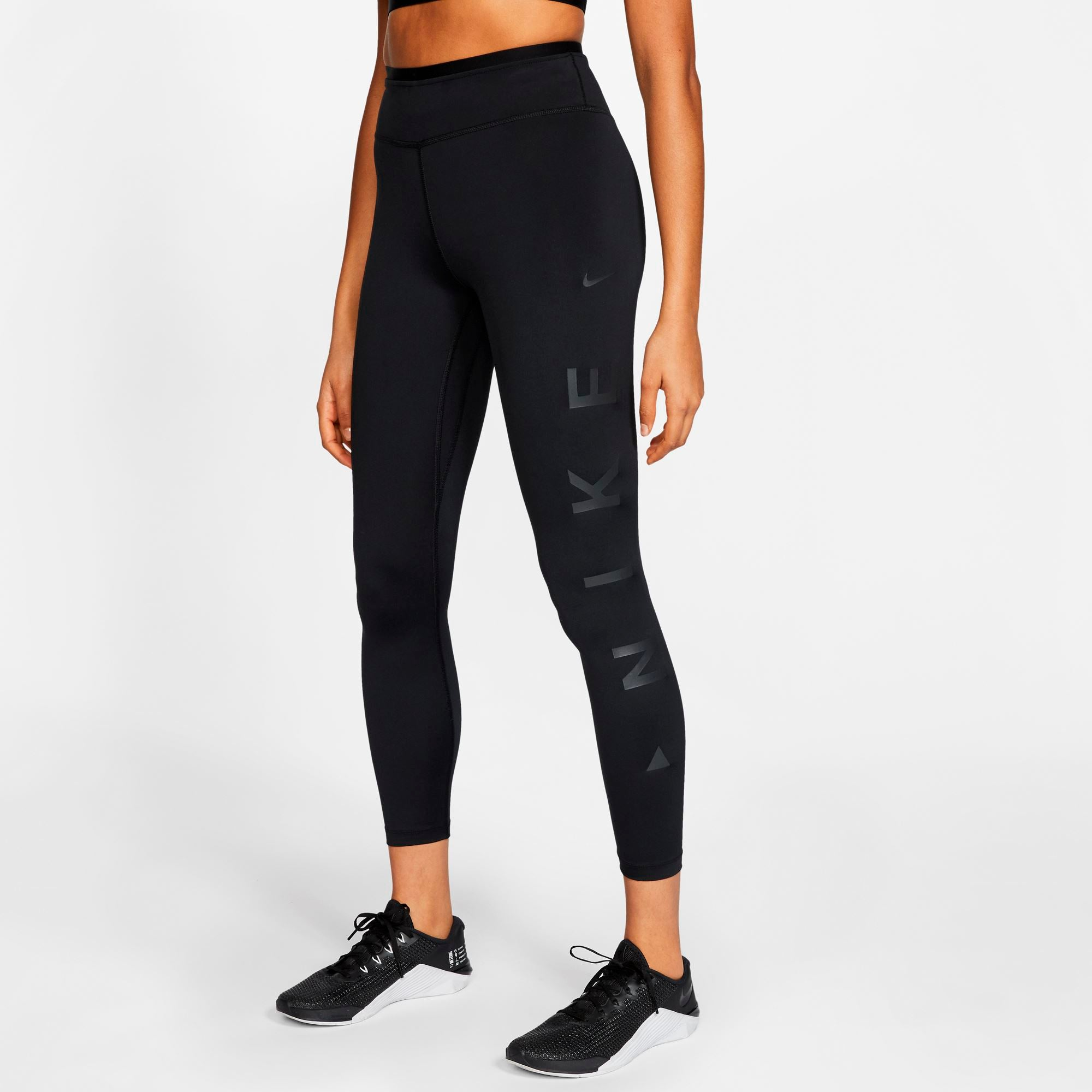 Nike Womens One Icon Clash Mid-Rise 7/8 Tights - Black/Dark Smoke Grey SP-ApparelTights-Women Nike