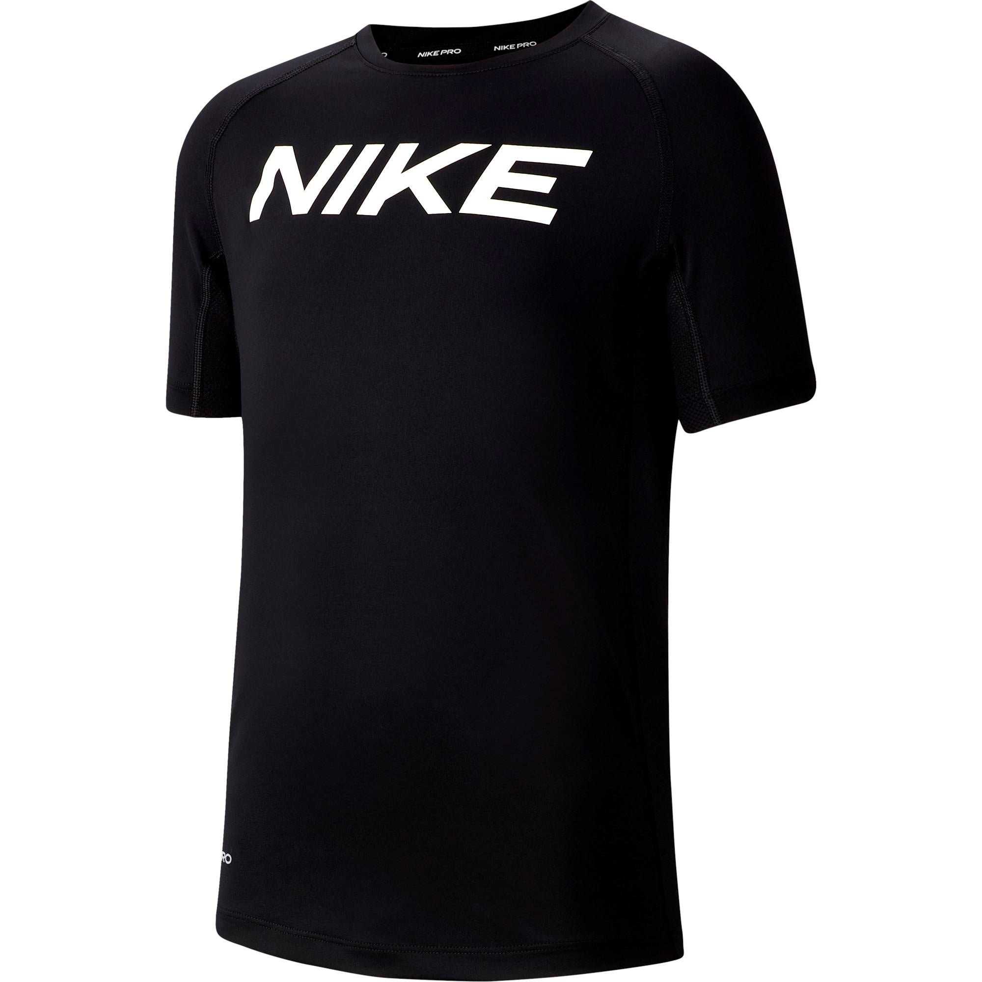 Nike Pro Big Kids (Boys) Short-Sleeve Training Top - Black/White SP-ApparelTees-Kids Nike