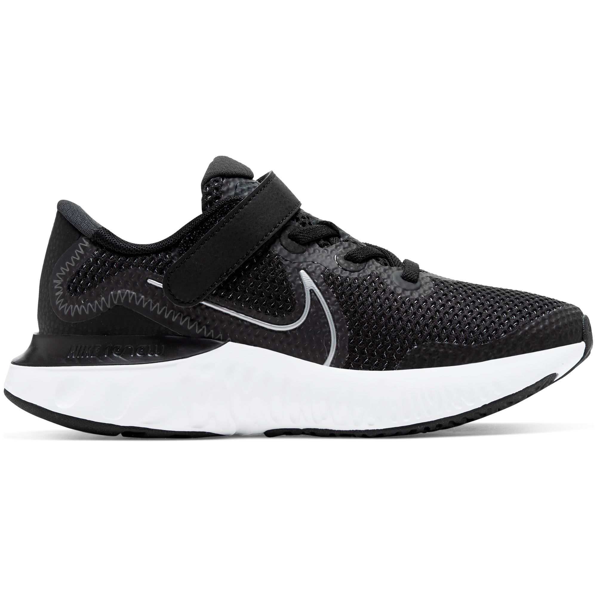 Nike Little Kids Renew Run - Black/Metallic Silver-White SP-Footwear-Kids Nike