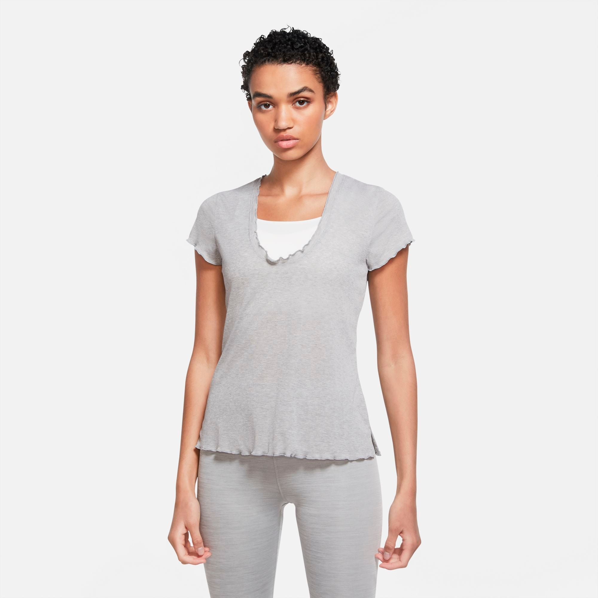 Nike Yoga Short-Sleeve Top - Particle Grey/Htr/Platinum Tint SP-ApparelTees-Womens Nike