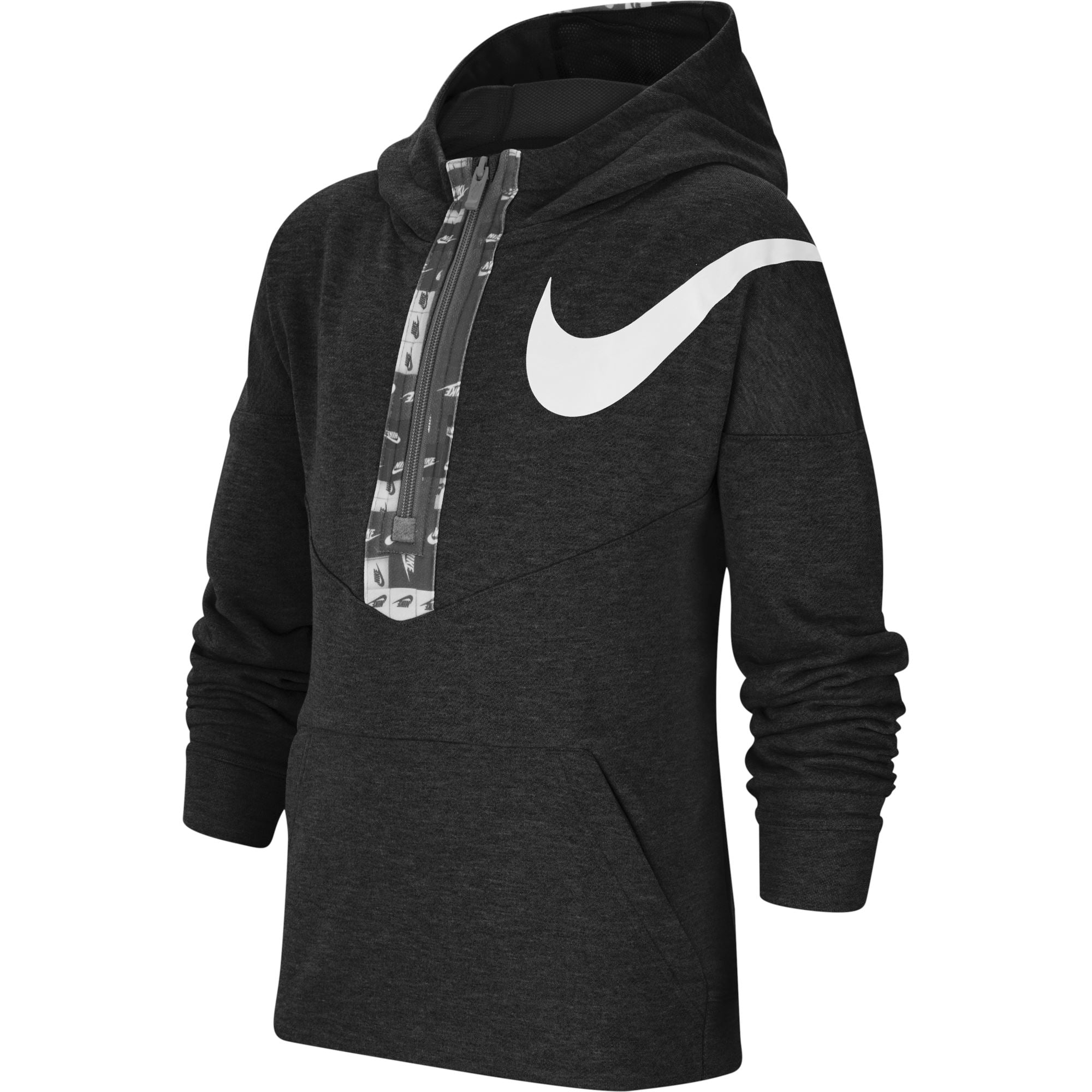 Nike Dri-FIT Big Kids' (Boys') Graphic Half-Zip Training Hoodie - Black/White SP-ApparelFleece-Kids Nike
