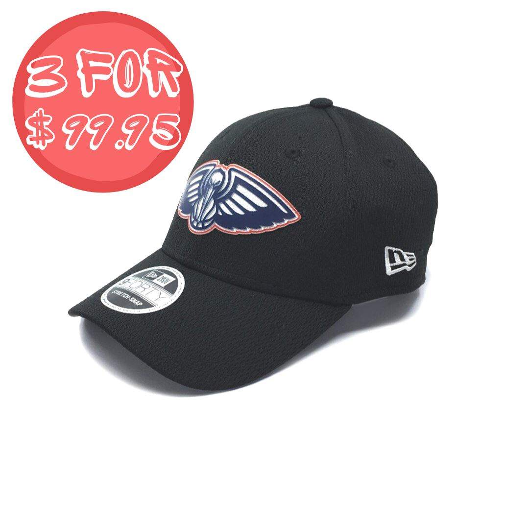 New Era 9Forty New Orleans Pelicans Stretch Snap - Black SP-Headwear-Caps New Era