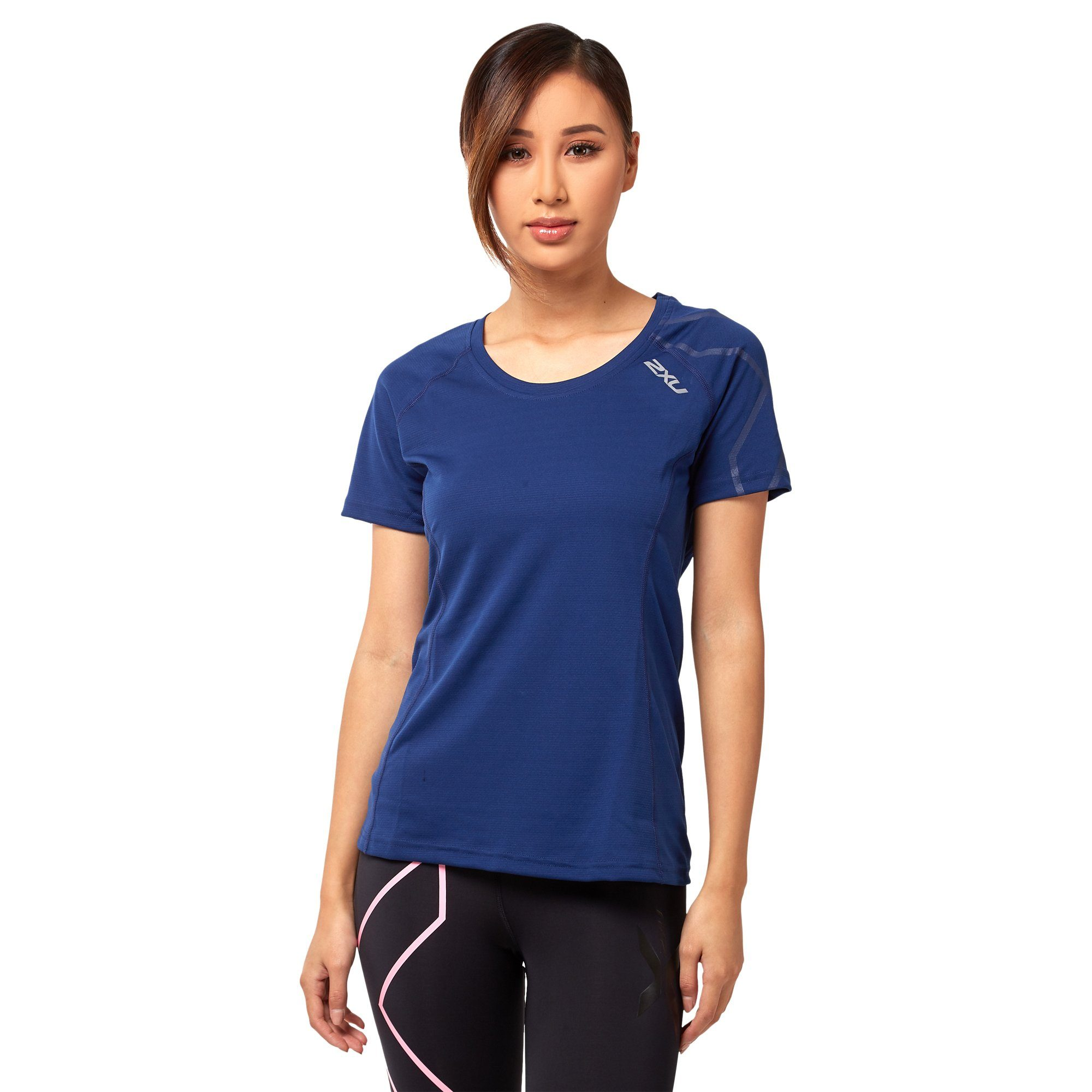 2XU Women's Active Run Tee - Navy Apparel 2XU