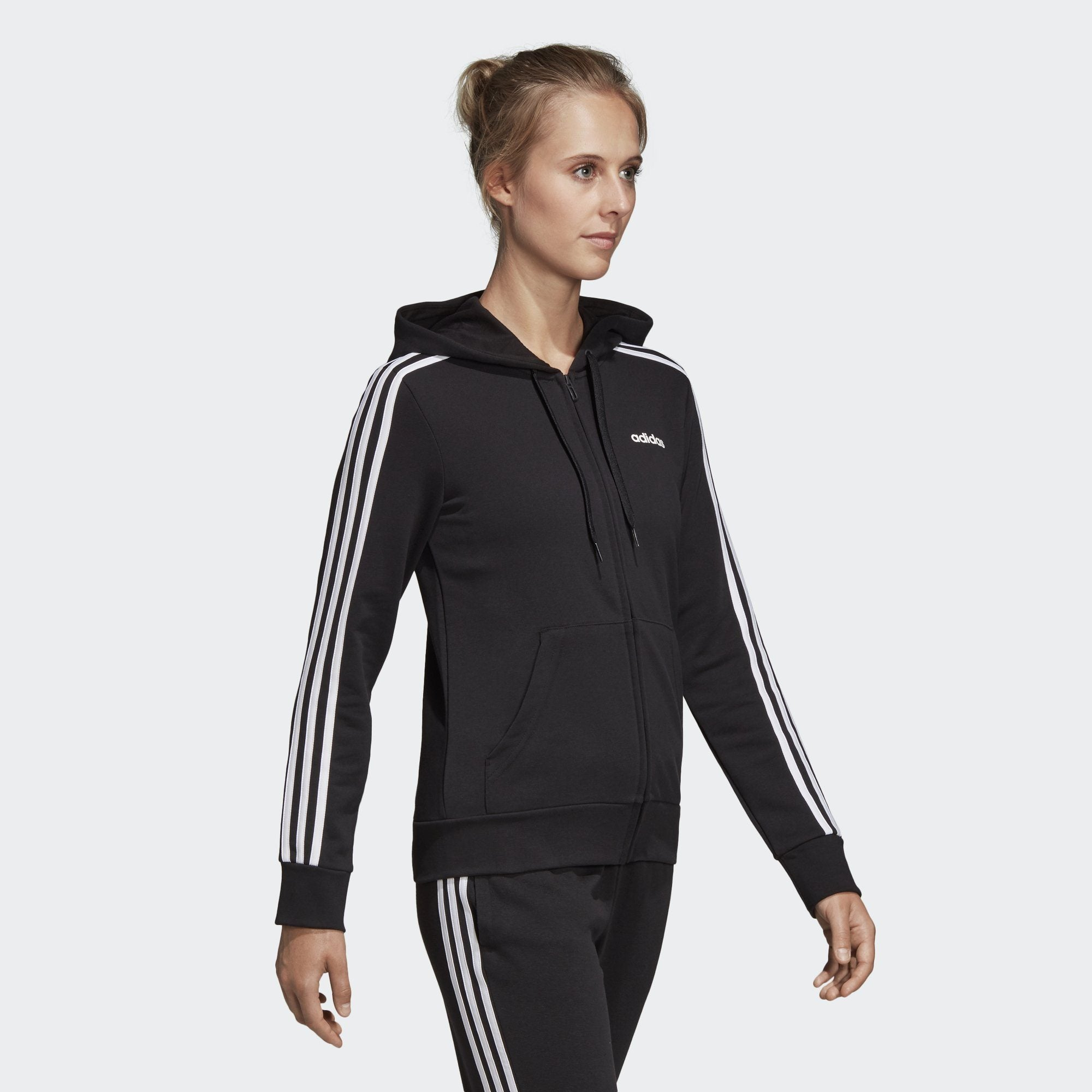 Adidas Womens Essentials 3-Stripes Hoodie - black-white Womens Apparel Adidas