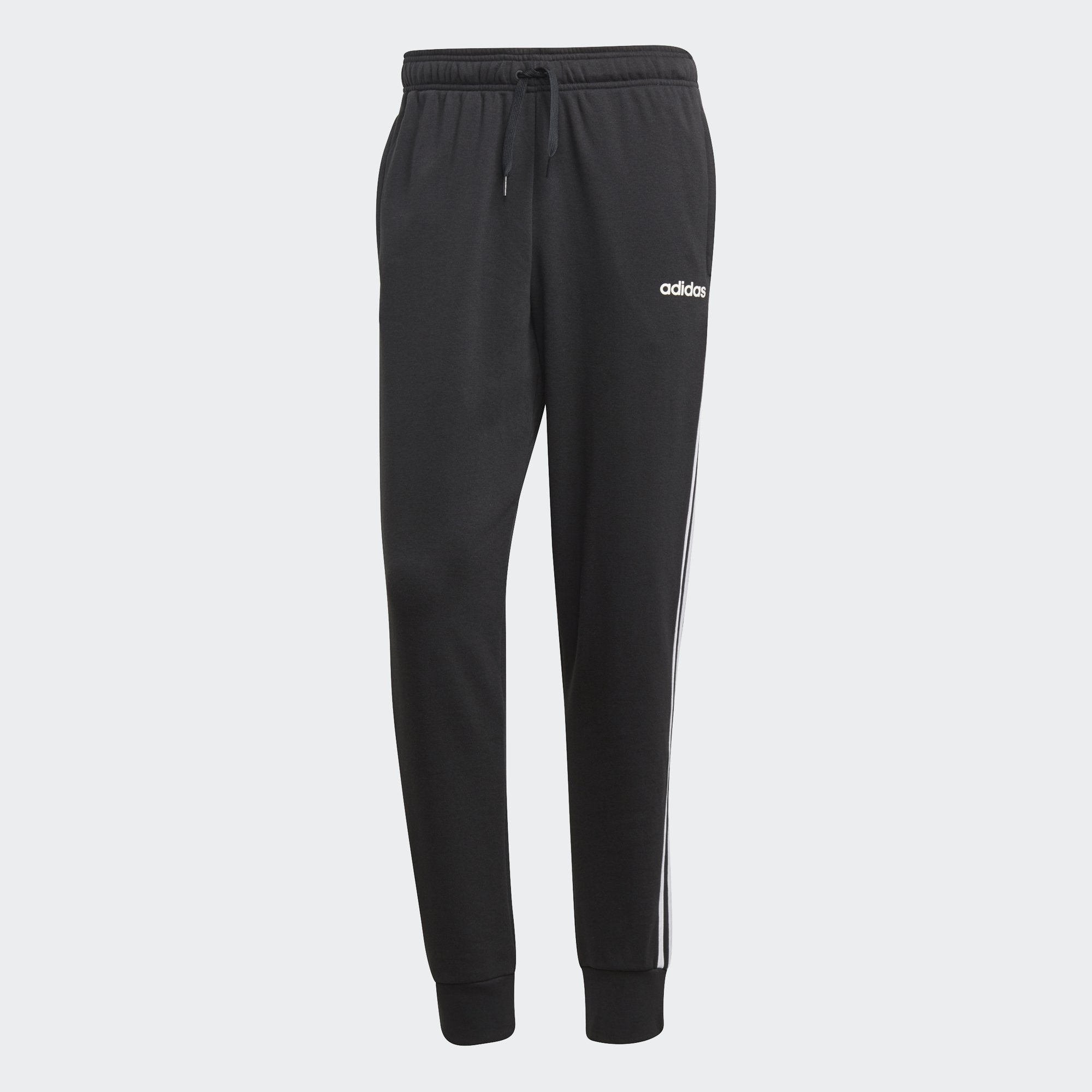 Adidas Mens Essentials 3-Stripes Tapered Cuffed Pants - black-white Mens Apparel Adidas