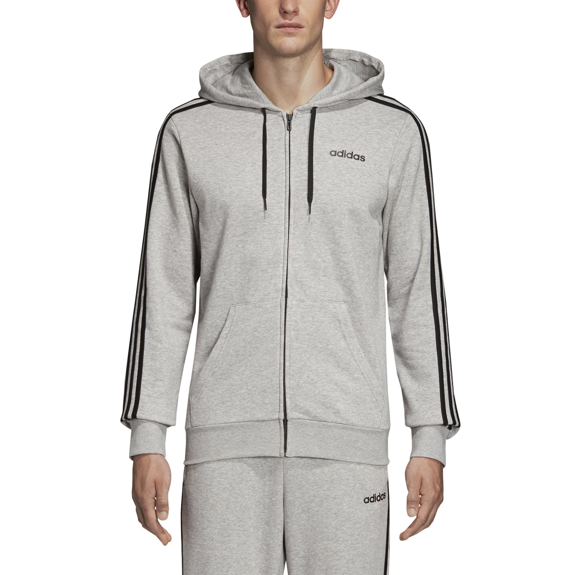 Adidas Mens Essentials 3-Stripes Track Jacket - medium grey heather-black Mens Apparel Adidas