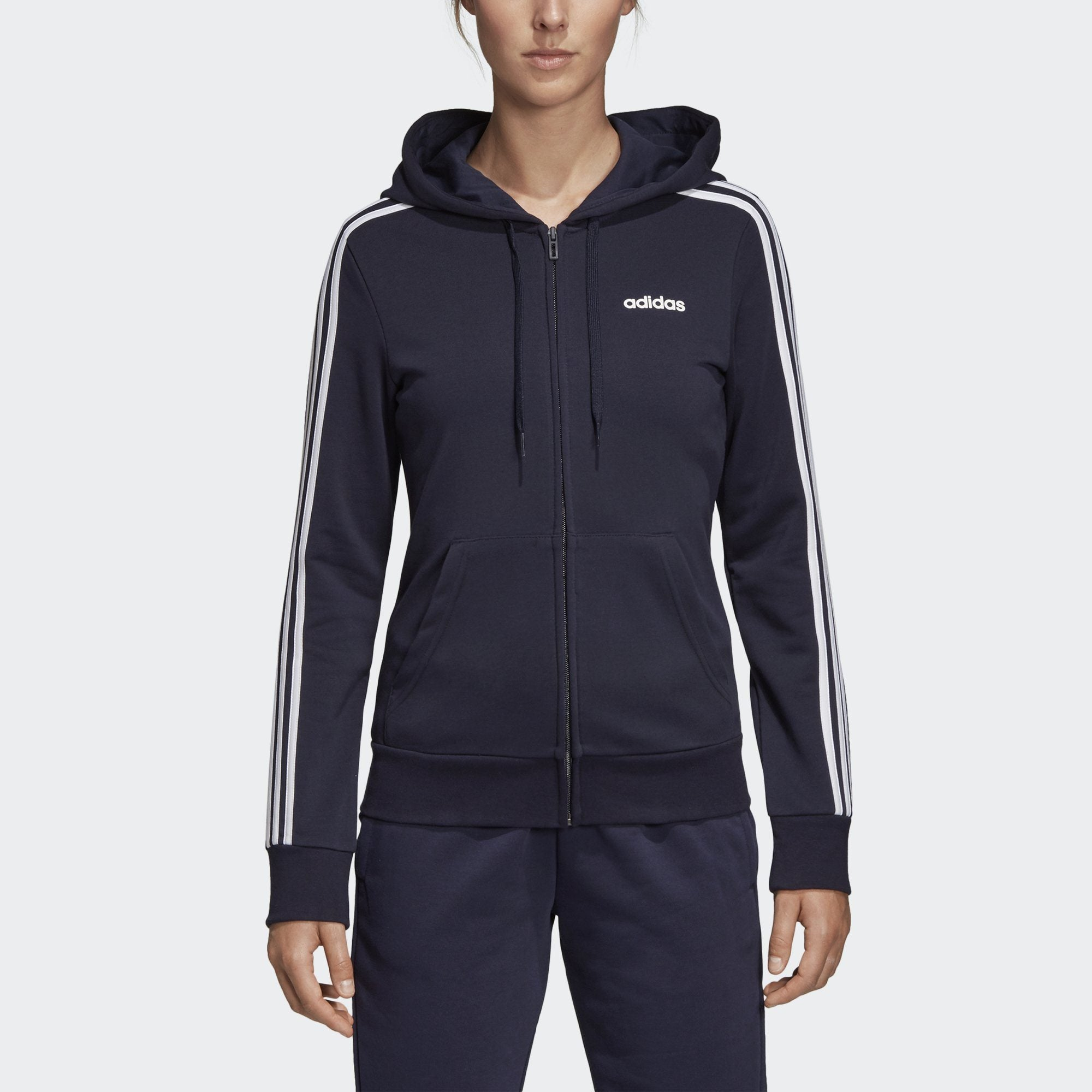 Adidas Womens Essentials 3 Stripes Hoodie legend ink white
