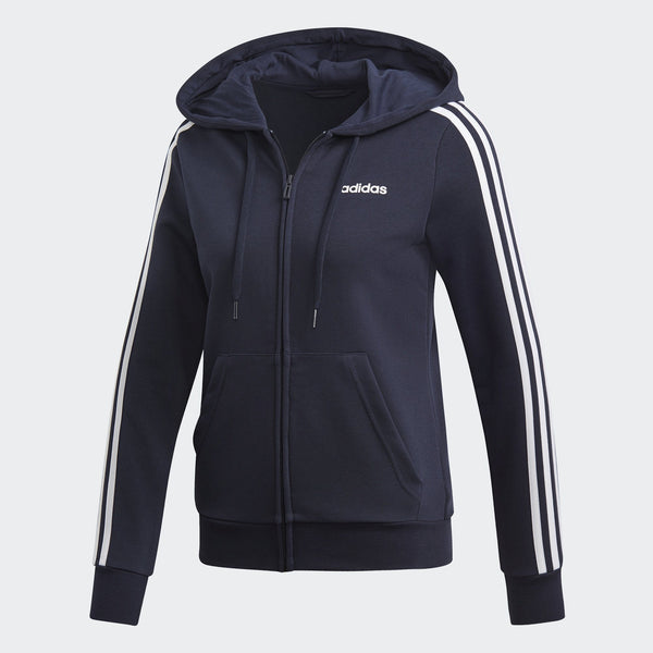 Adidas Womens Essentials 3-Stripes Hoodie - legend ink-white Womens Apparel Adidas