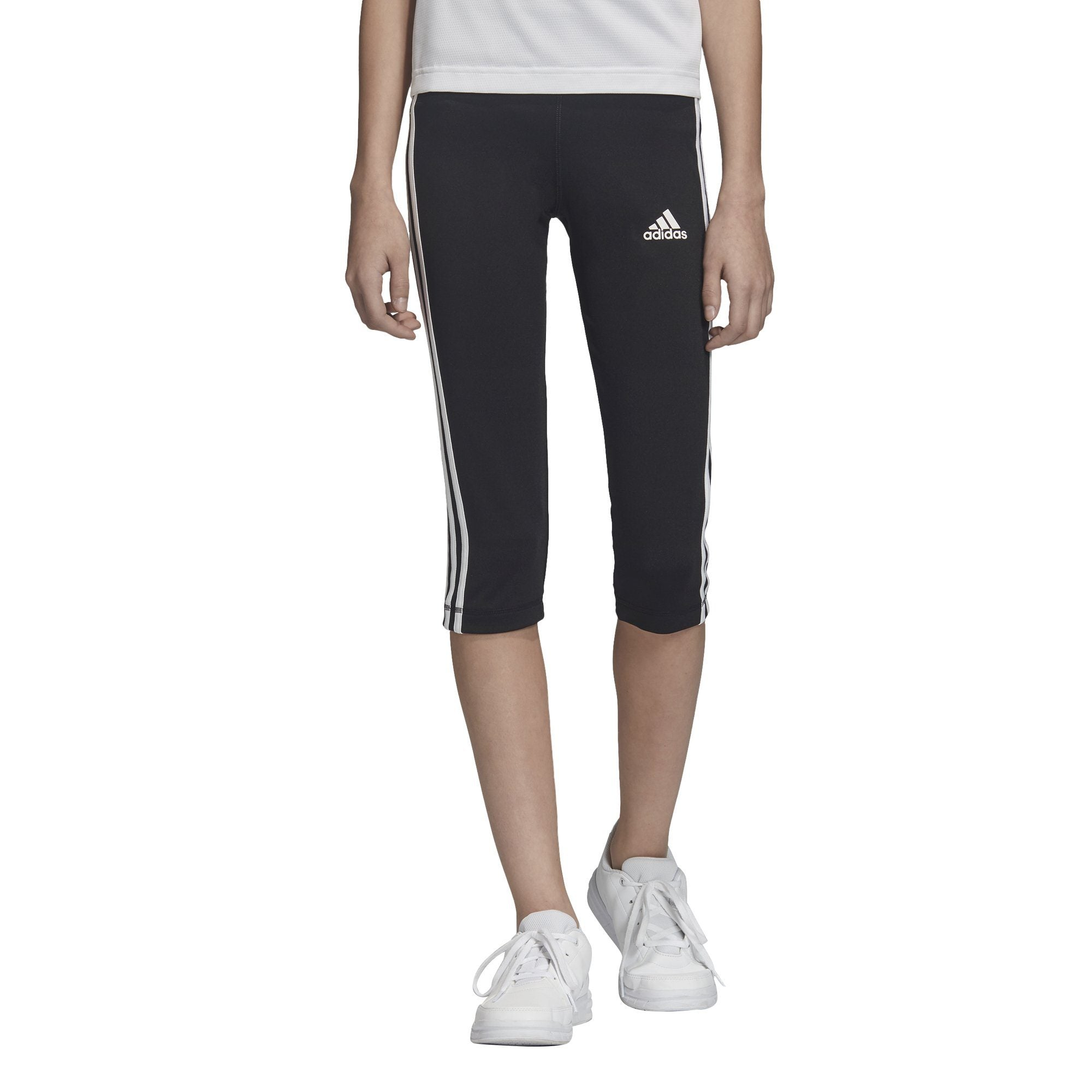 Adidas Kids Equipment 3-Stripes 3/4 Tights - Black/White SP-ApparelTights-Kids Adidas