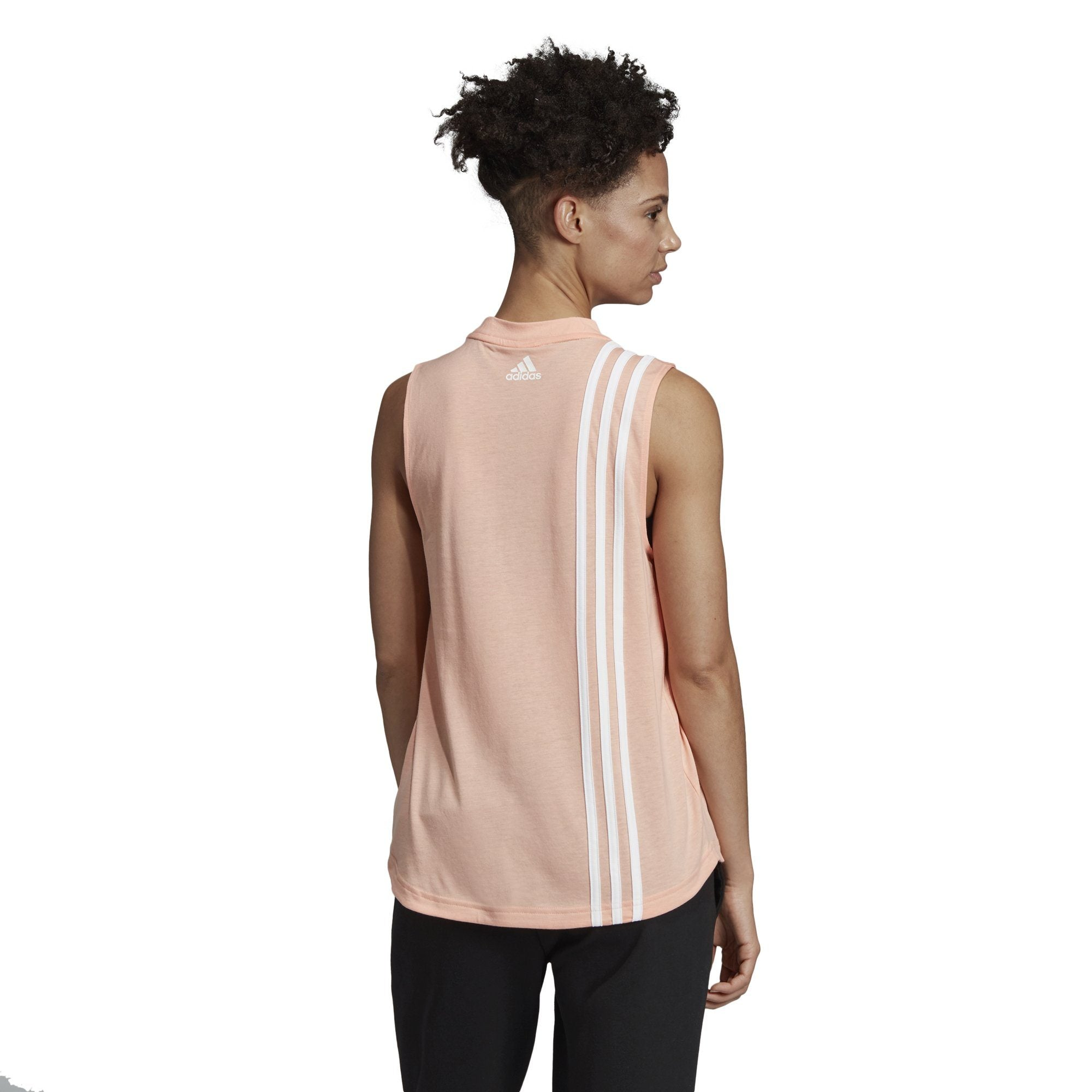 Adidas Womens Must Haves 3-Stripes Tank Top - glow pink/white SP-APPARELTANK-WOMENS Adidas