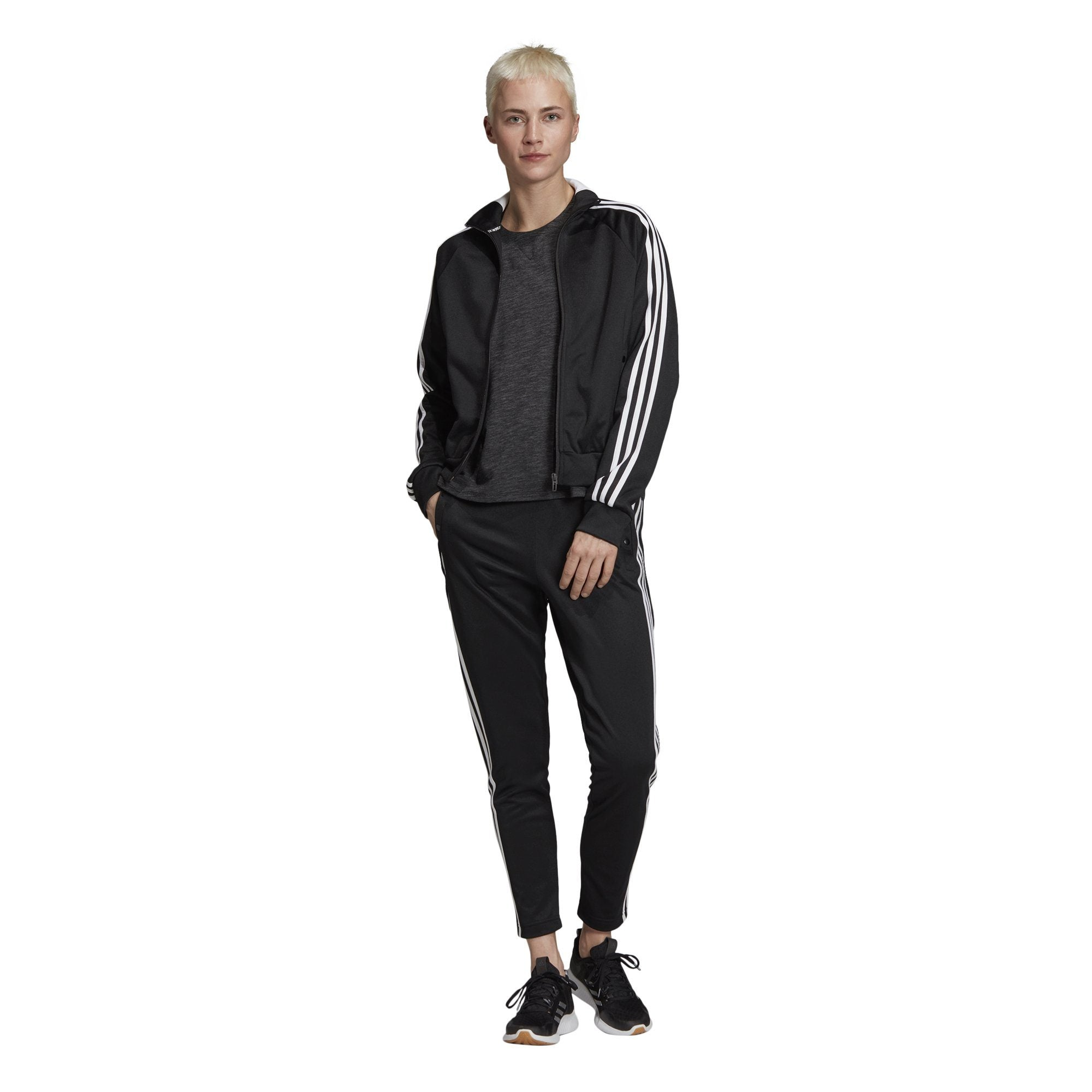 Adidas Womens ID 3-Stripes Snap Track Top - black SP-APPARELFLEECE-WOMENS Adidas